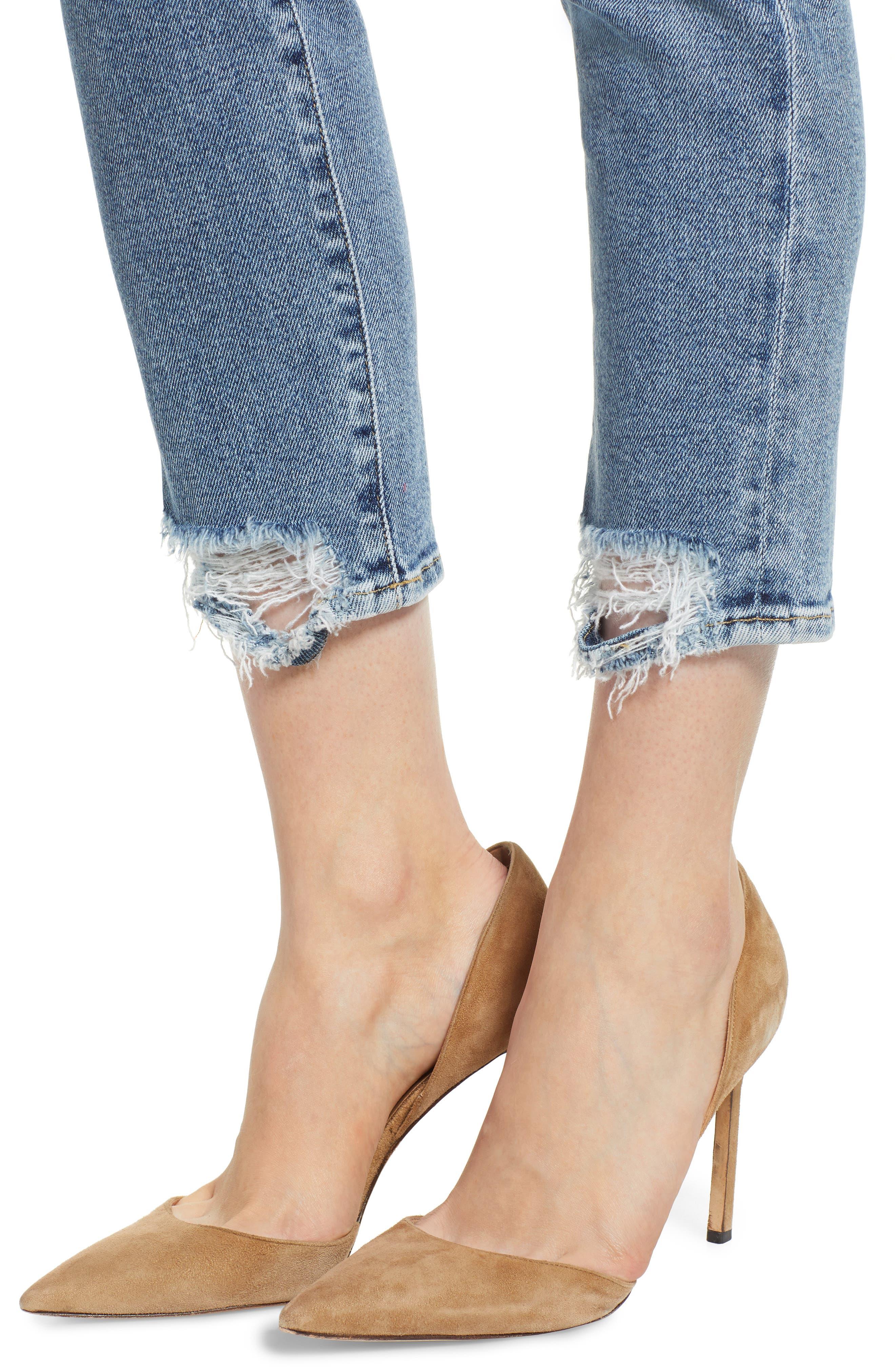 Luxe Vintage Roxanne Rip Hem Ankle Slim Jeans,                             Alternate thumbnail 4, color,                             401