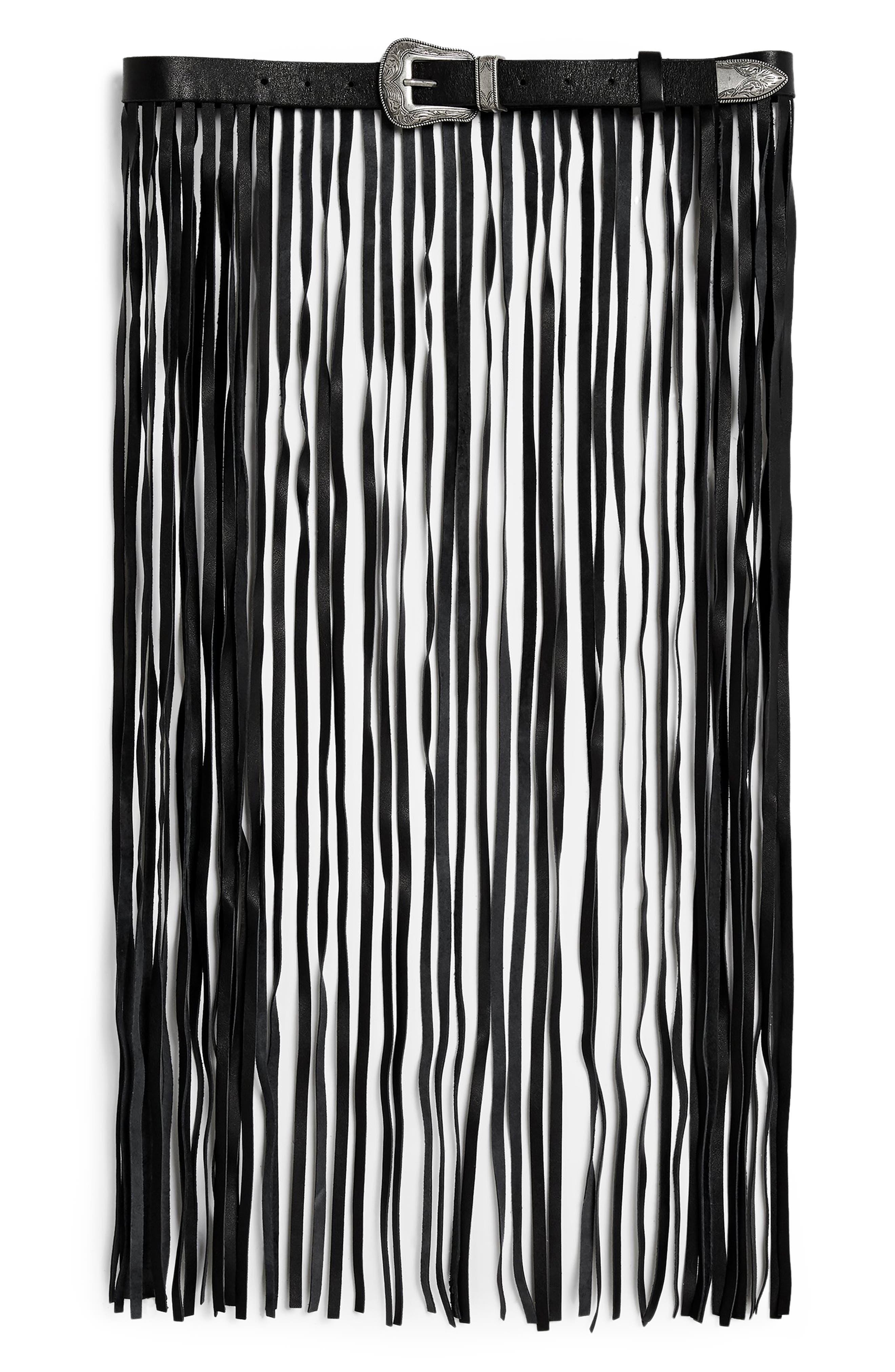 Topshop Maxi Fringe Belt, Black