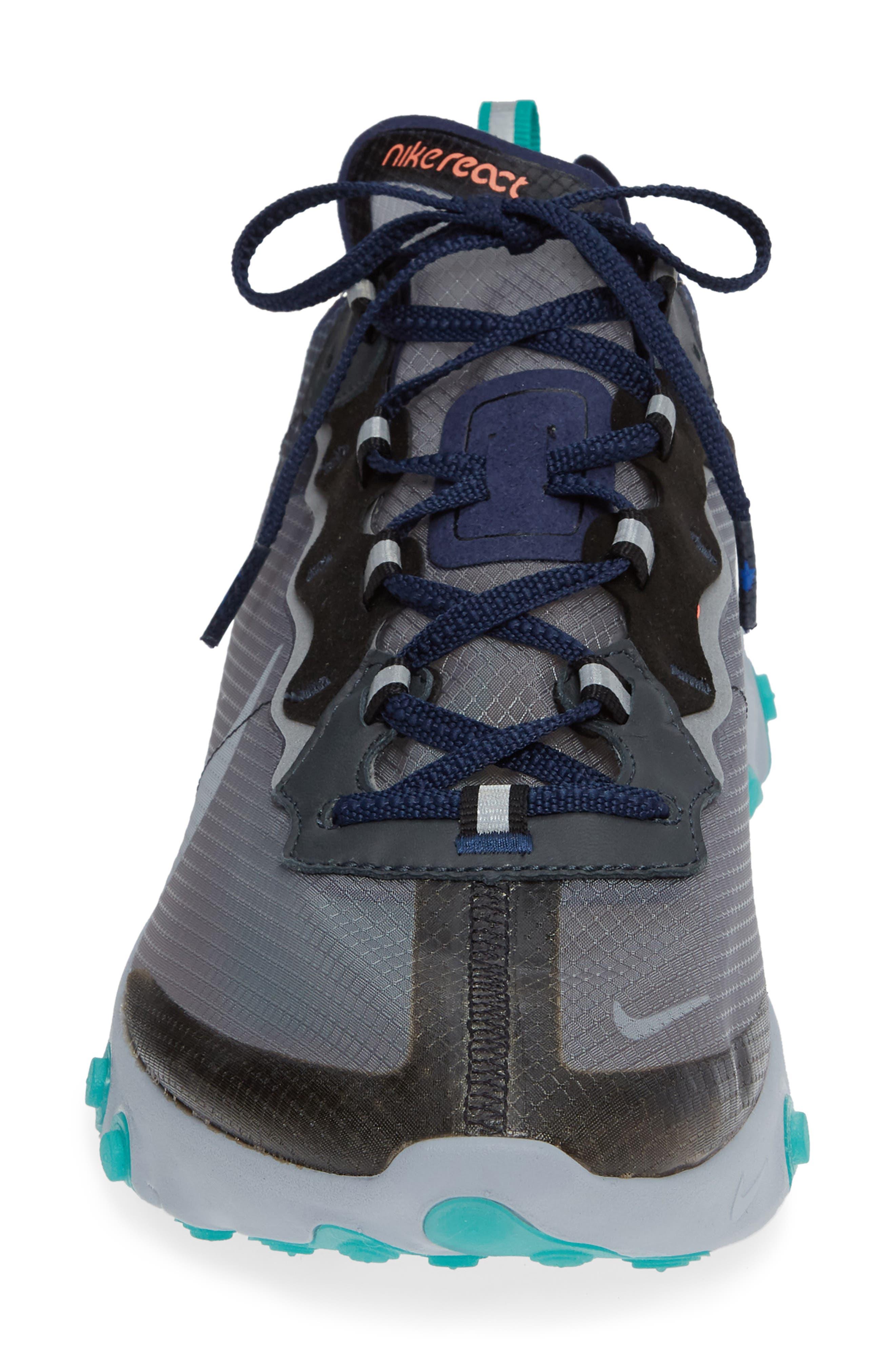 React Element 87 Sneaker,                             Alternate thumbnail 4, color,                             BLACK/ MIDNIGHT NAVY/ GREEN