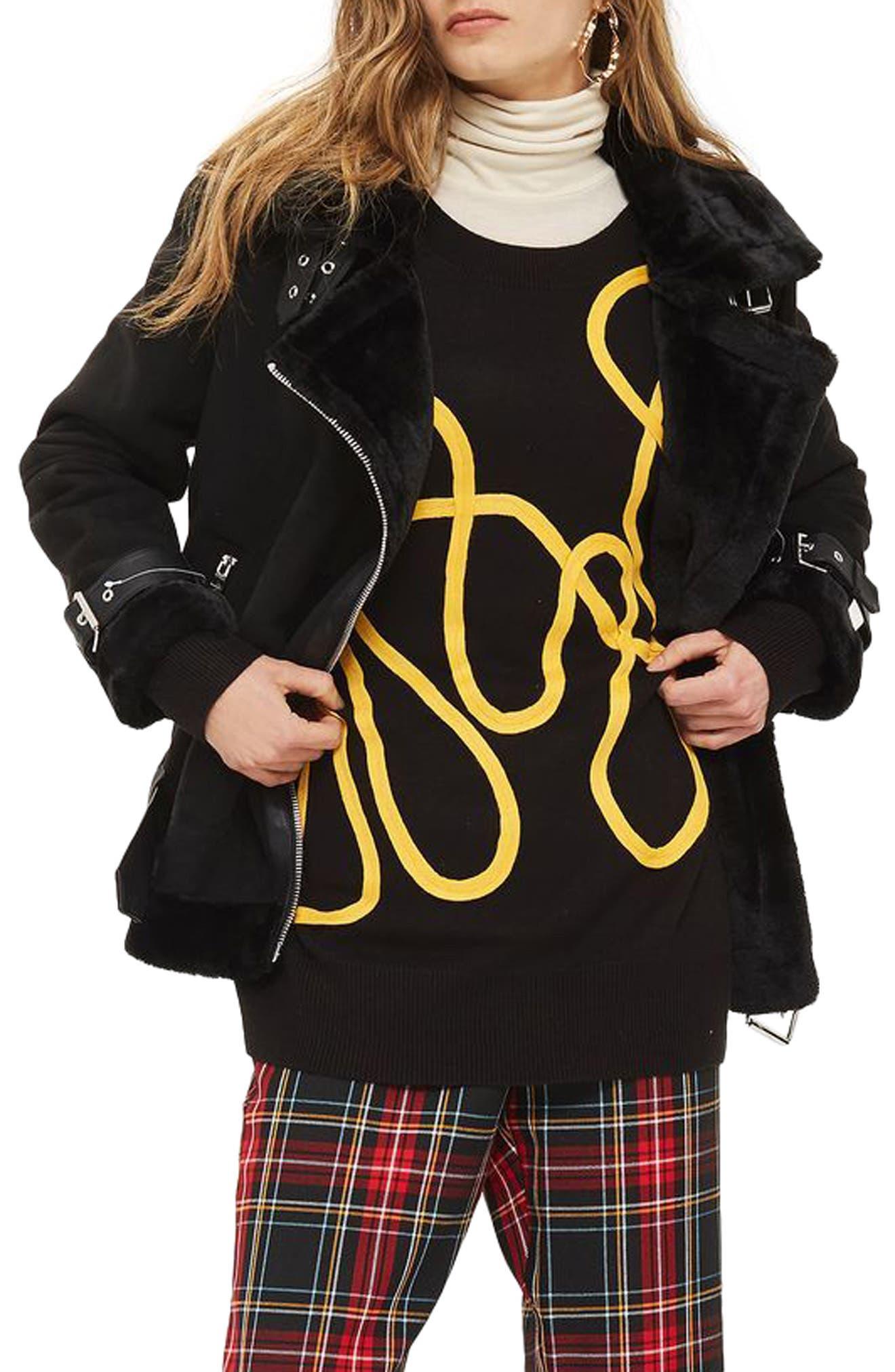 Faux Shearling Biker Jacket,                         Main,                         color, 001