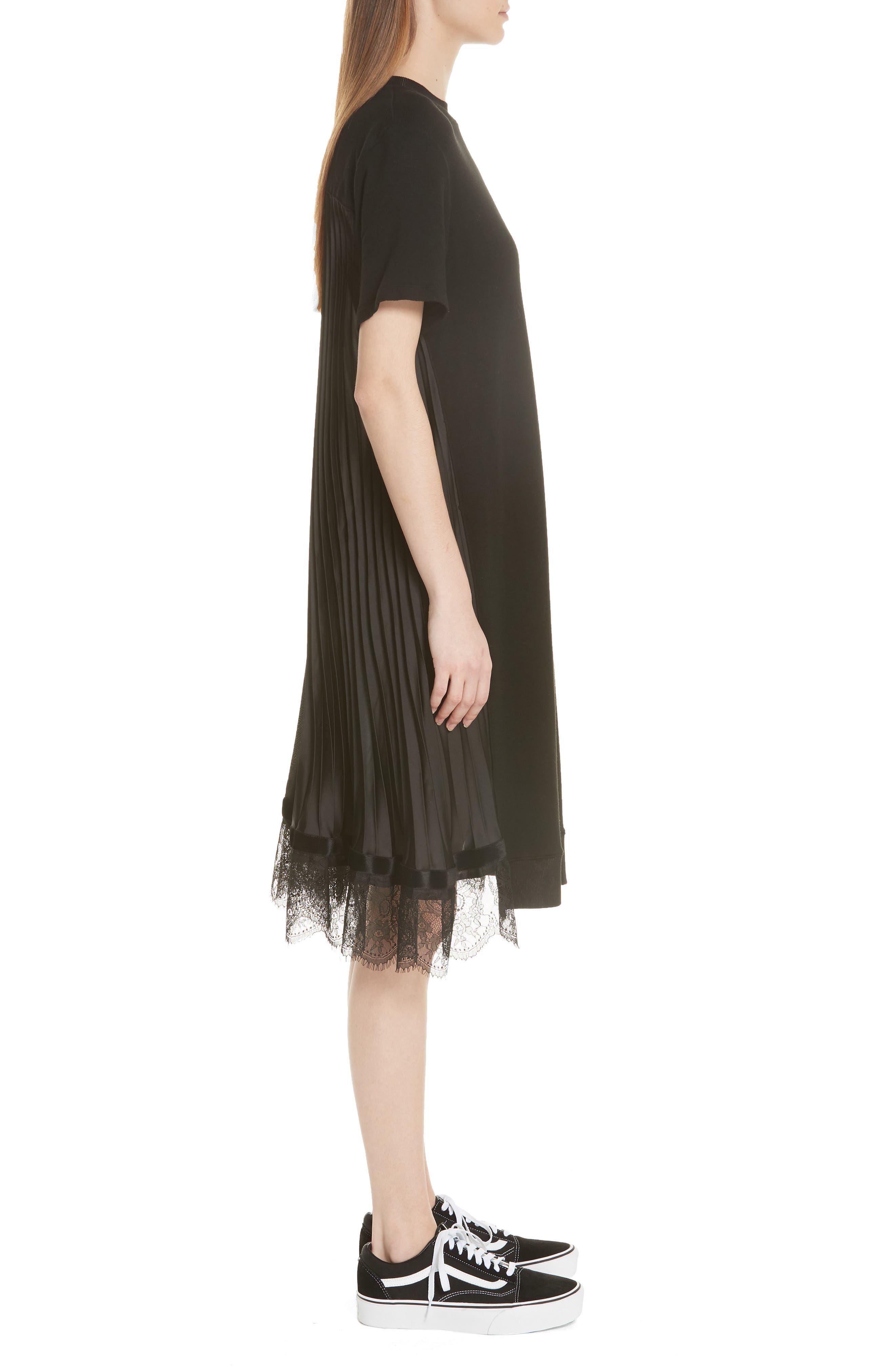 Pleat Back Midi Dress,                             Alternate thumbnail 3, color,                             001