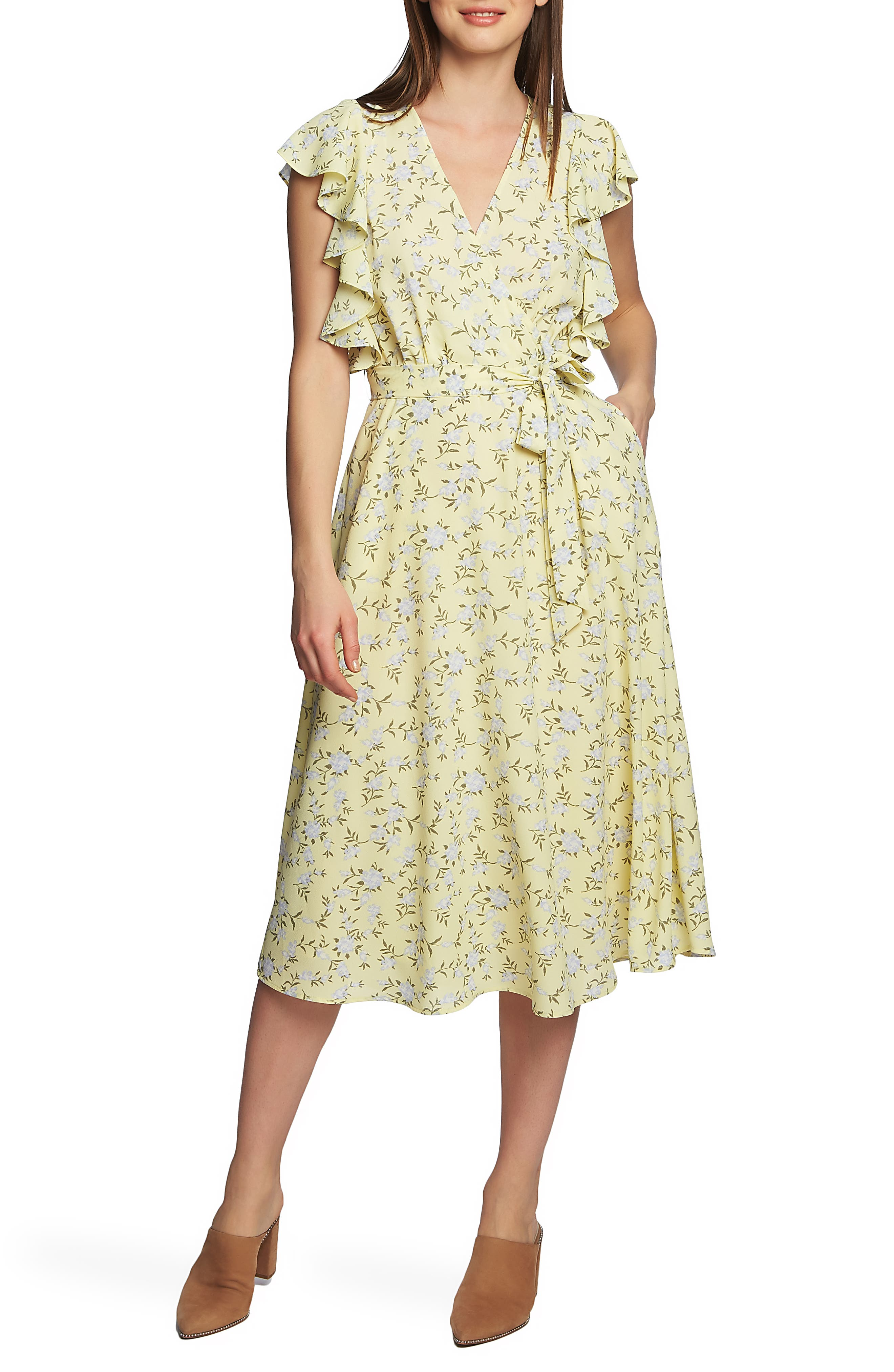 1.state Blossom Cluster Wrap Dress, Yellow
