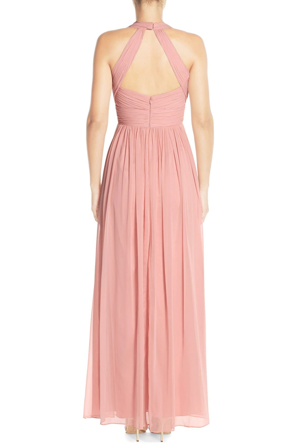 Dessy Collection Ruched Chiffon V-Neck Halter Gown,                             Alternate thumbnail 5, color,