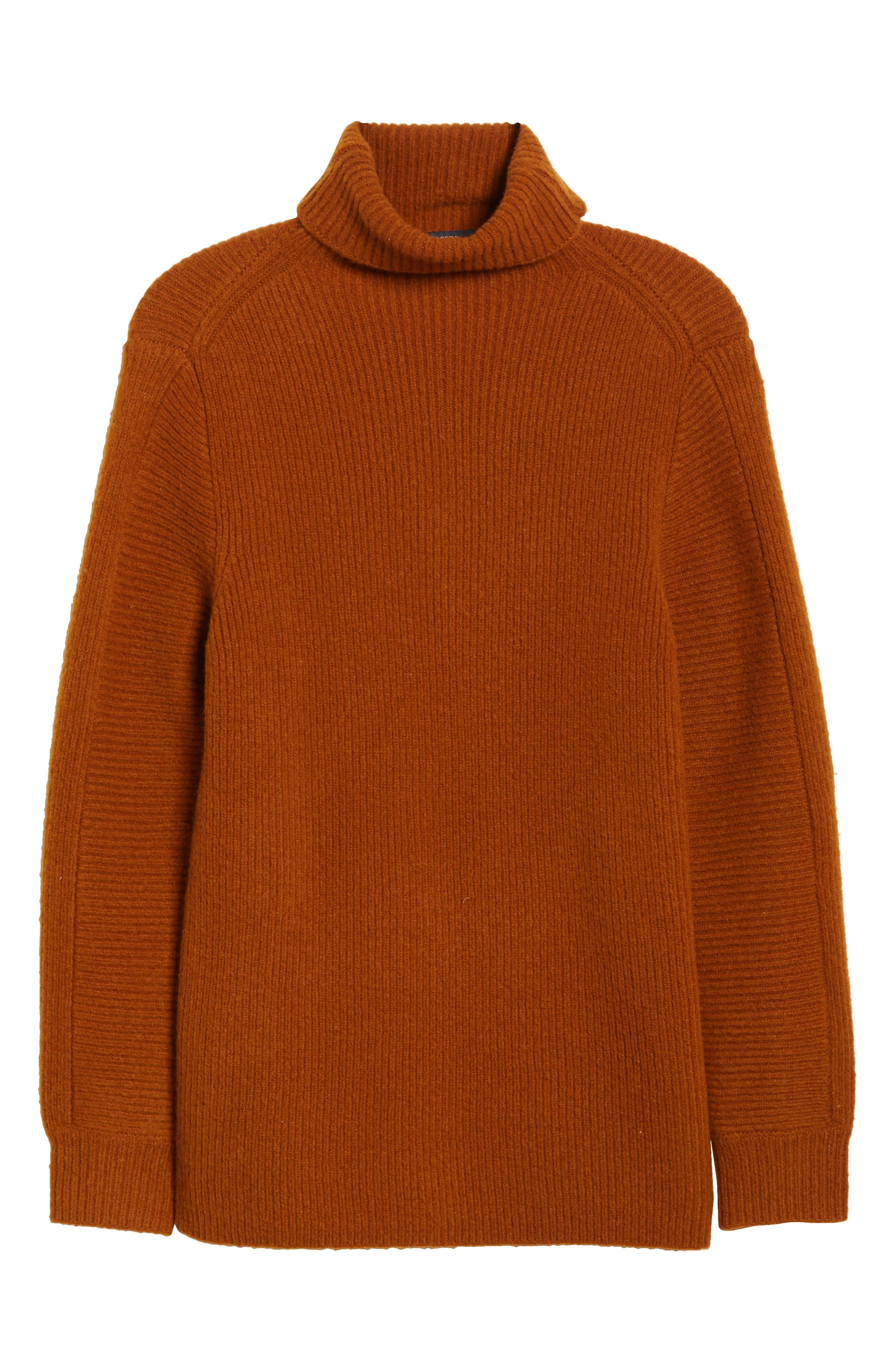 Wool Blend Turtleneck Sweater,                             Alternate thumbnail 6, color,                             RUSSET BROWN