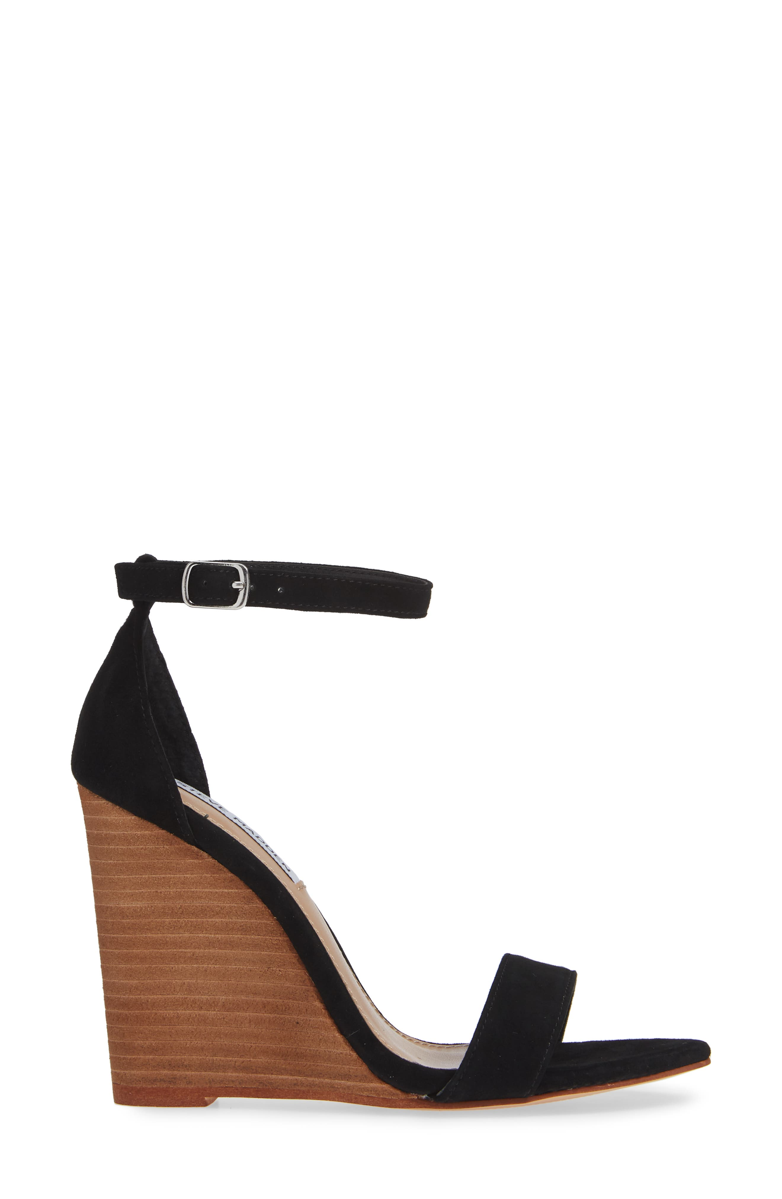Mary Ankle Strap Wedge,                             Alternate thumbnail 3, color,                             BLACK SUEDE