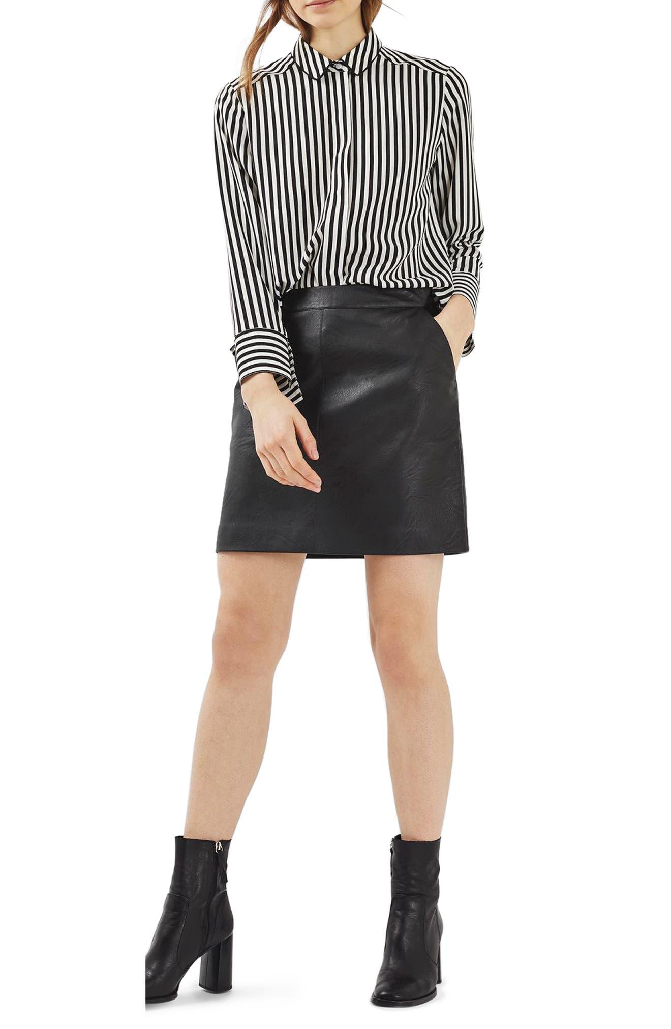 Faux Leather Pencil Skirt,                             Main thumbnail 1, color,                             001