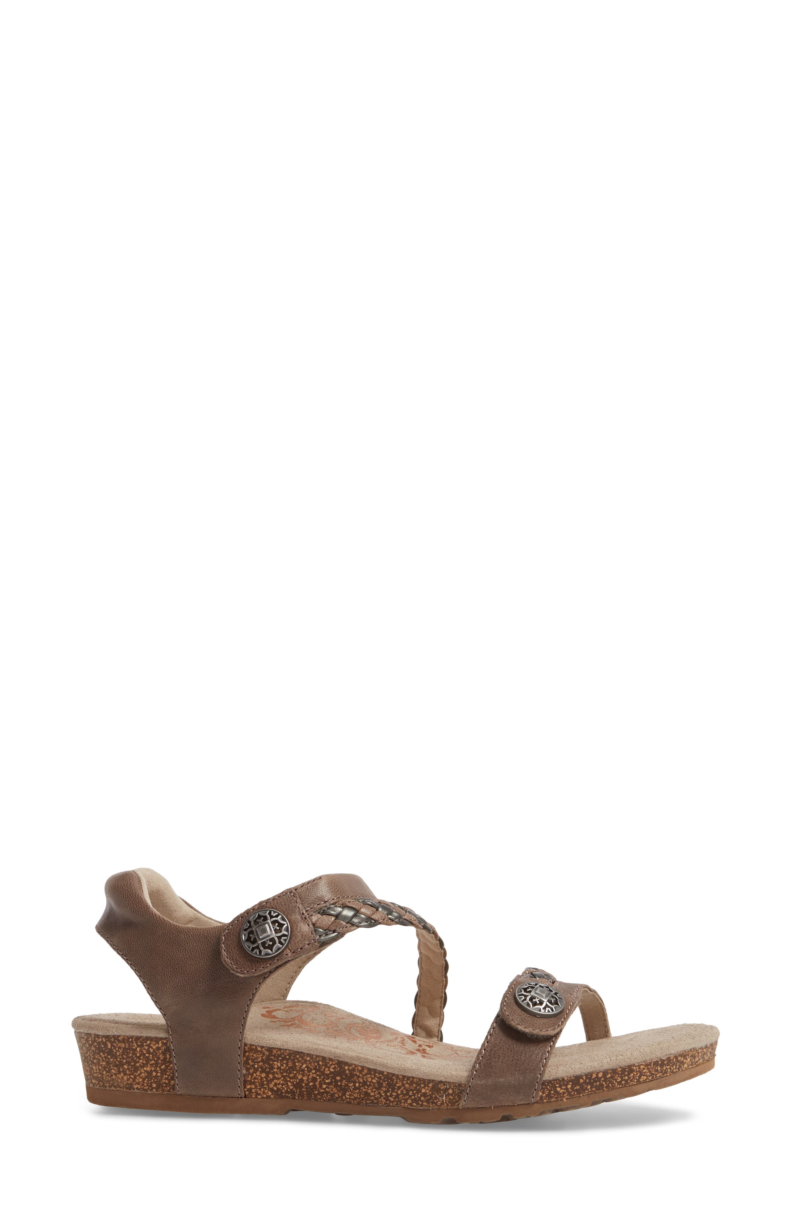 'Jillian' Braided Leather Strap Sandal,                             Alternate thumbnail 3, color,                             GREY LEATHER