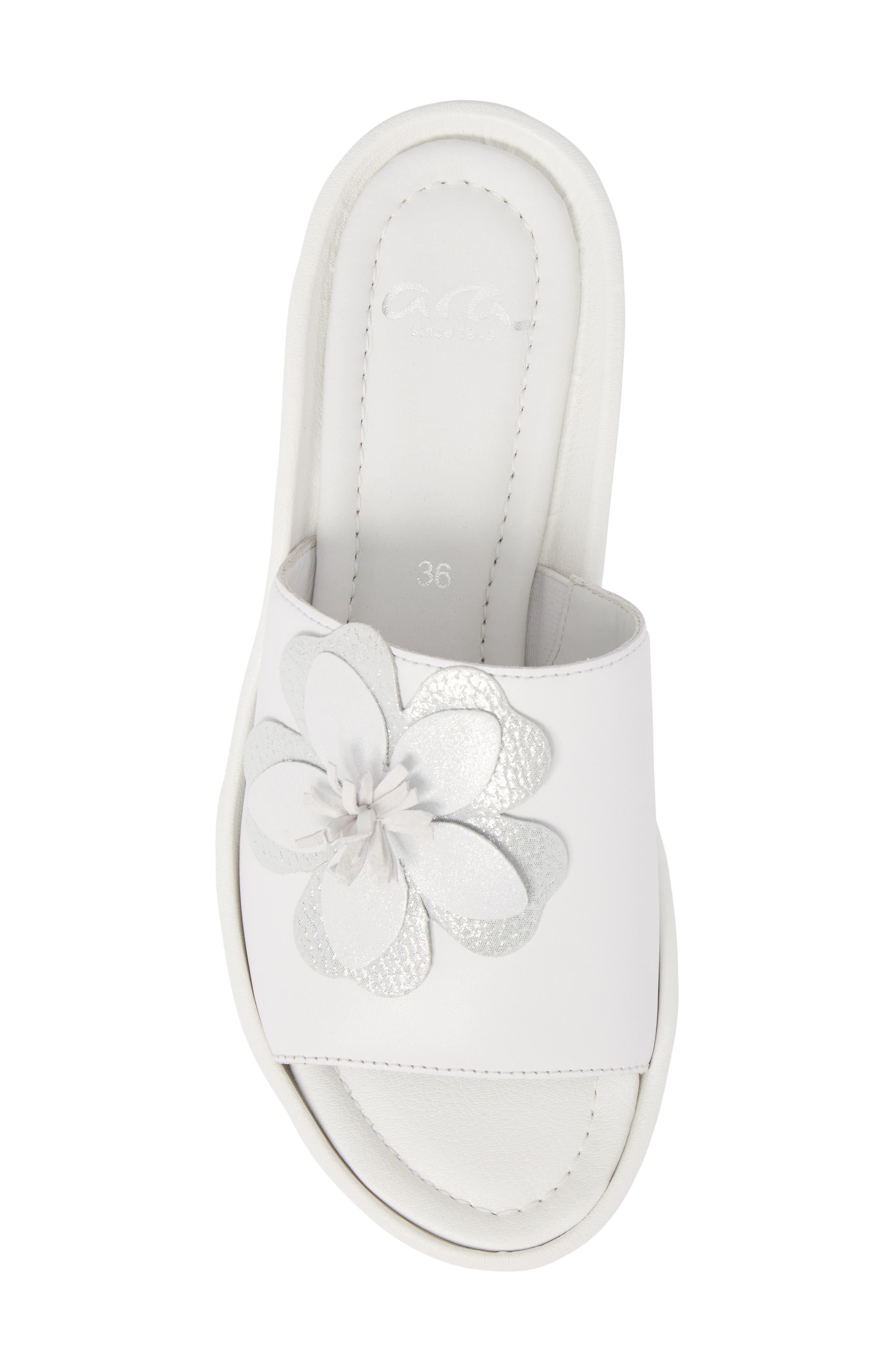 Thea Wedge Slide Sandal,                             Alternate thumbnail 5, color,                             WHITE LEATHER