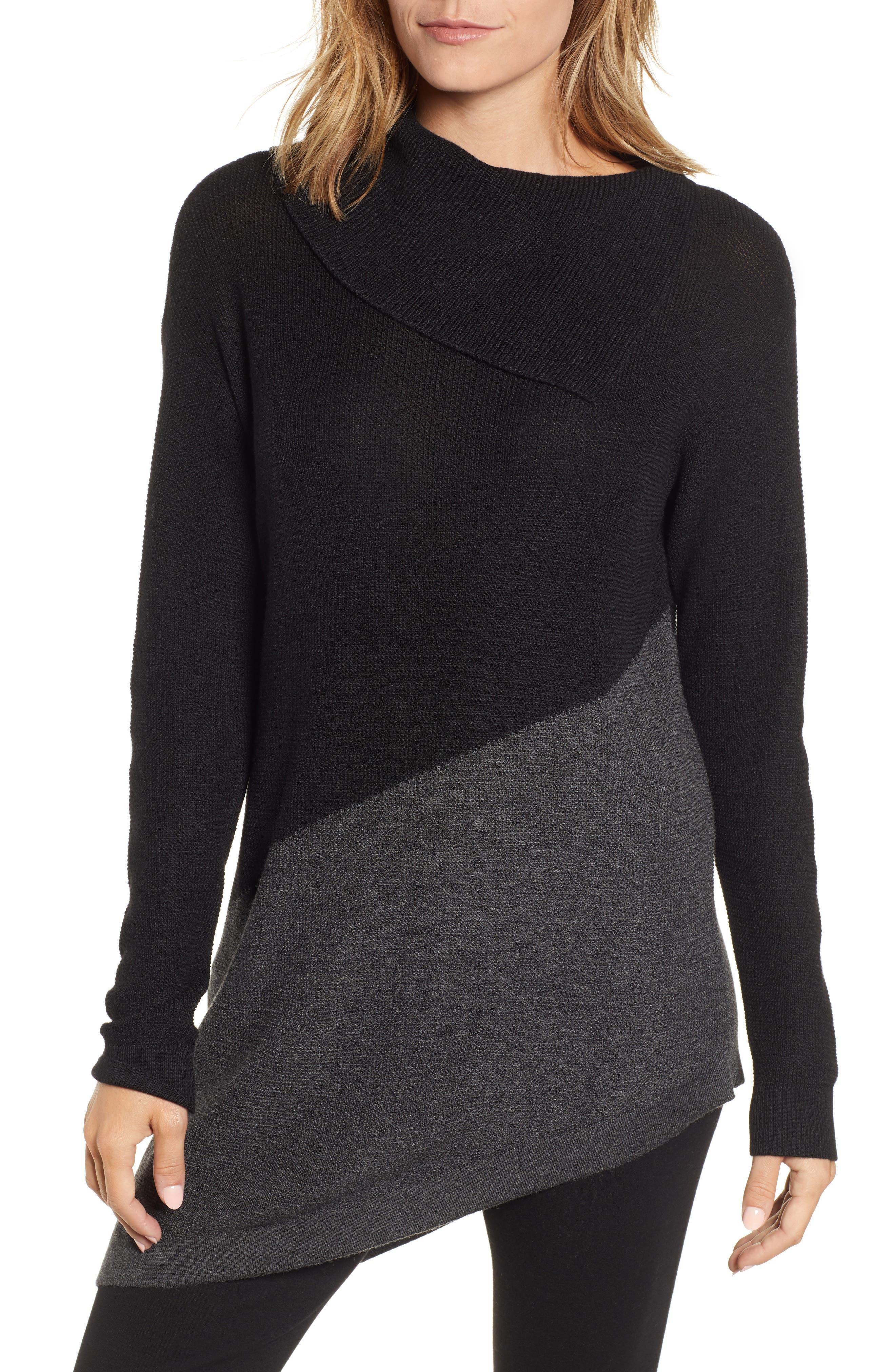 Asymmetrical Colorblock Tunic Sweater,                         Main,                         color, RICH BLACK