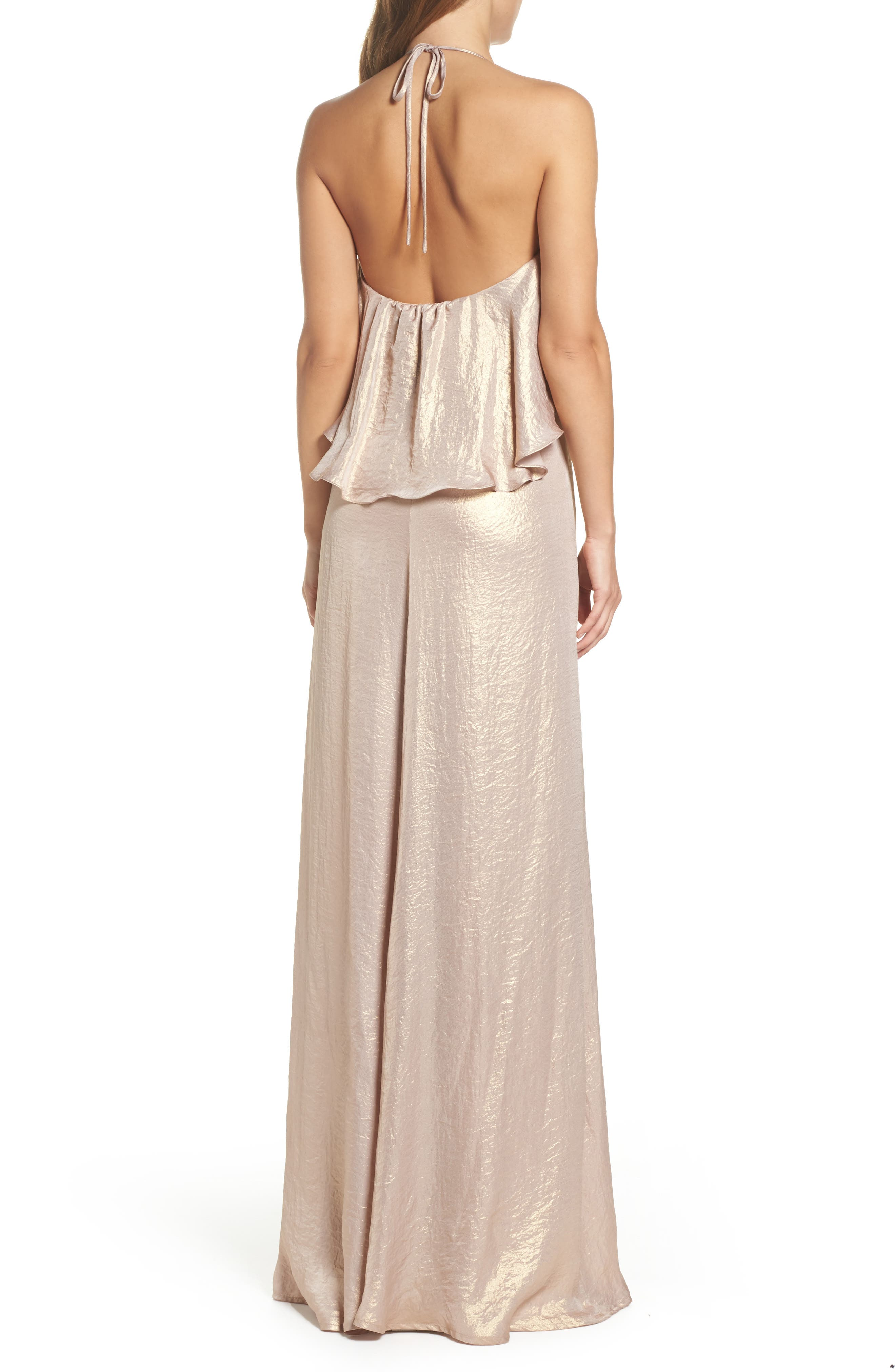 Crushed Satin Popover Halter Gown,                             Alternate thumbnail 2, color,                             710