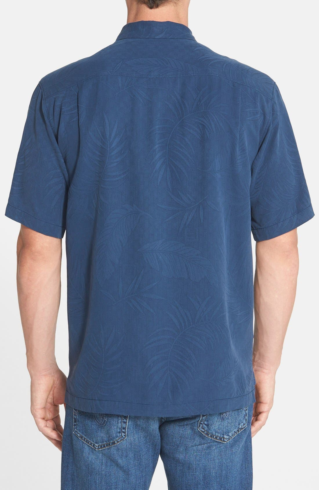 'Tiki Palms' Original Fit Jacquard Silk Camp Shirt,                             Alternate thumbnail 9, color,