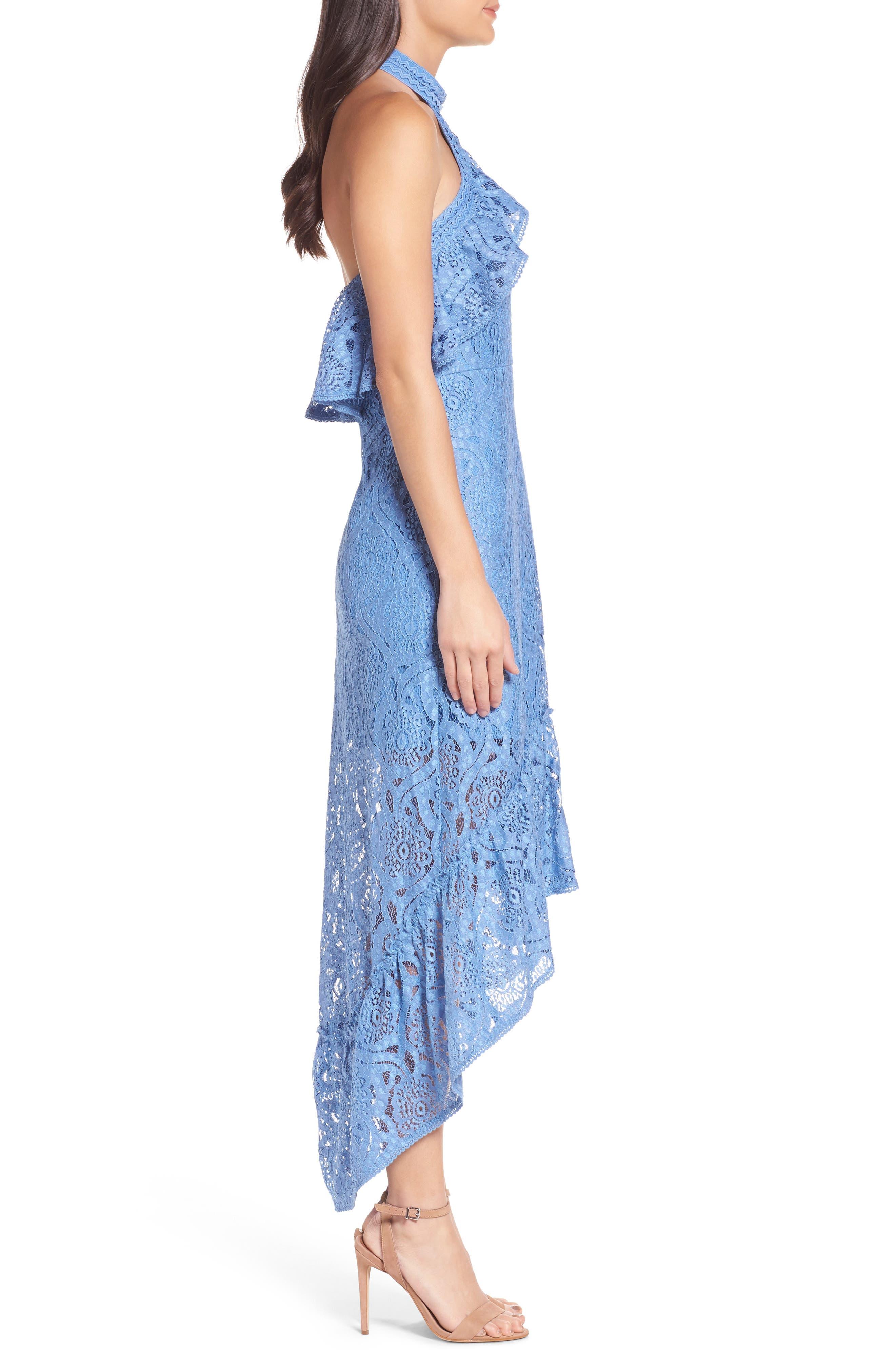 Ruffle Lace Midi Dress,                             Alternate thumbnail 3, color,