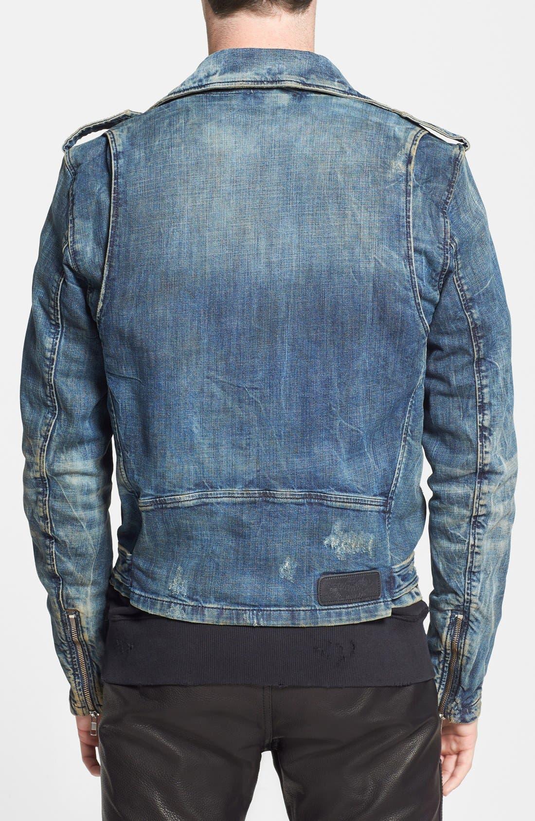 'Bhonzer' Denim Moto Jacket,                             Alternate thumbnail 2, color,                             400