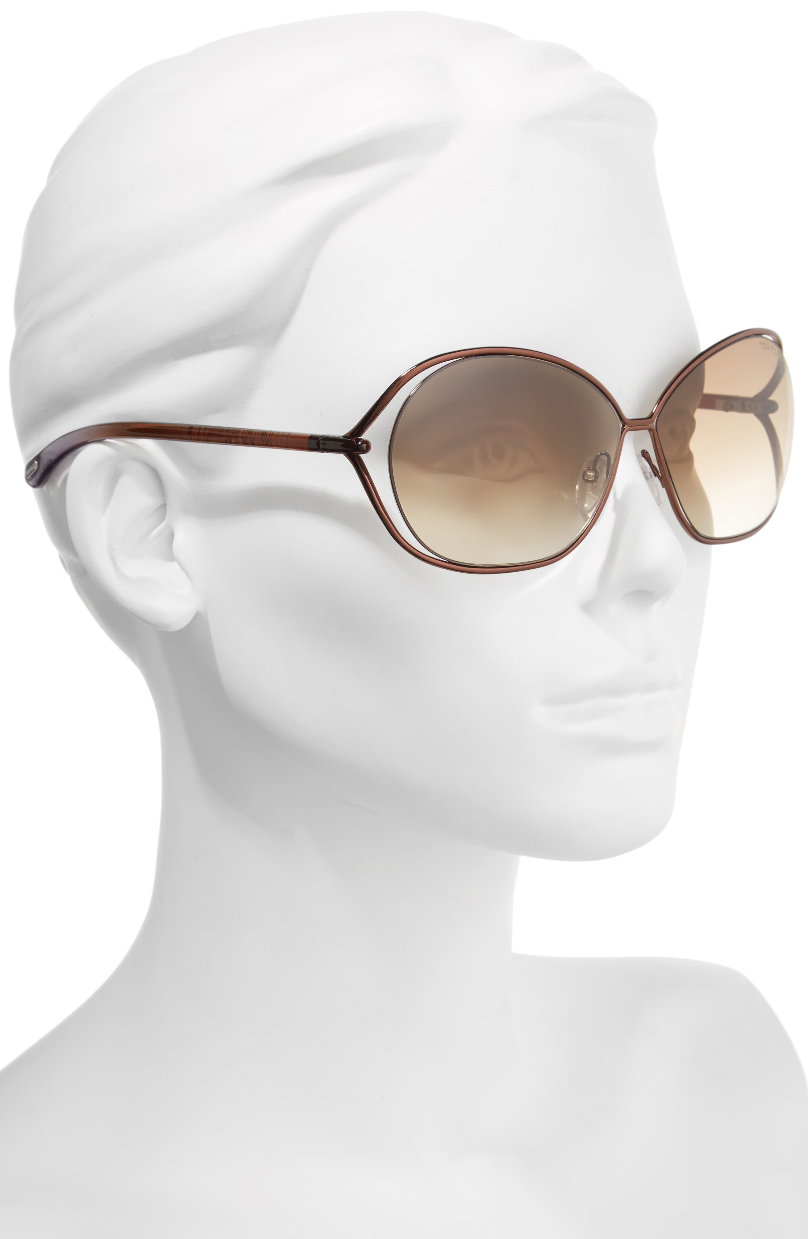 Carla 66mm Oversized Round Metal Sunglasses,                             Alternate thumbnail 3, color,                             BROWN/ BROWN