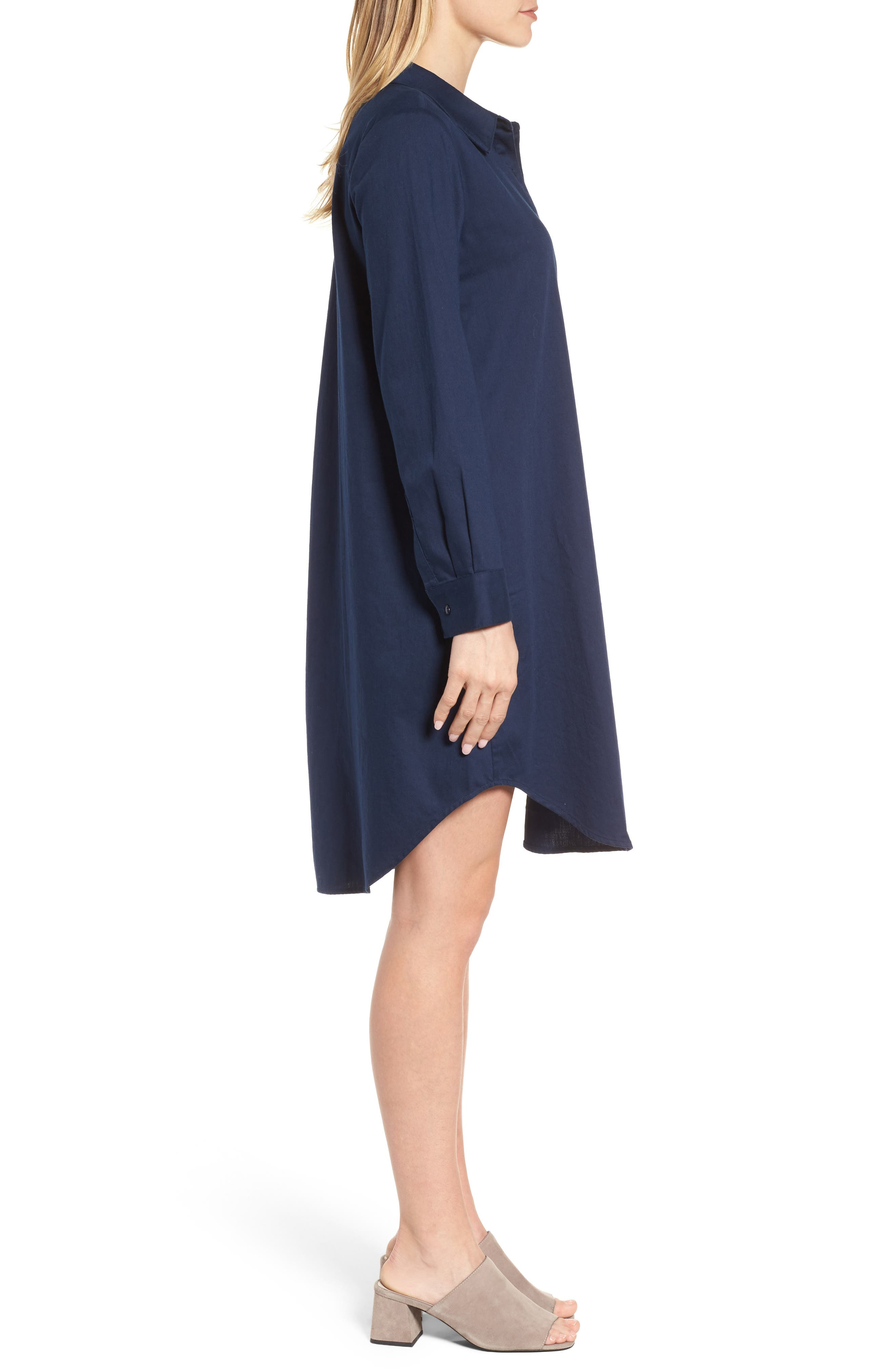 Cotton Twill Shirtdress,                             Alternate thumbnail 3, color,                             419
