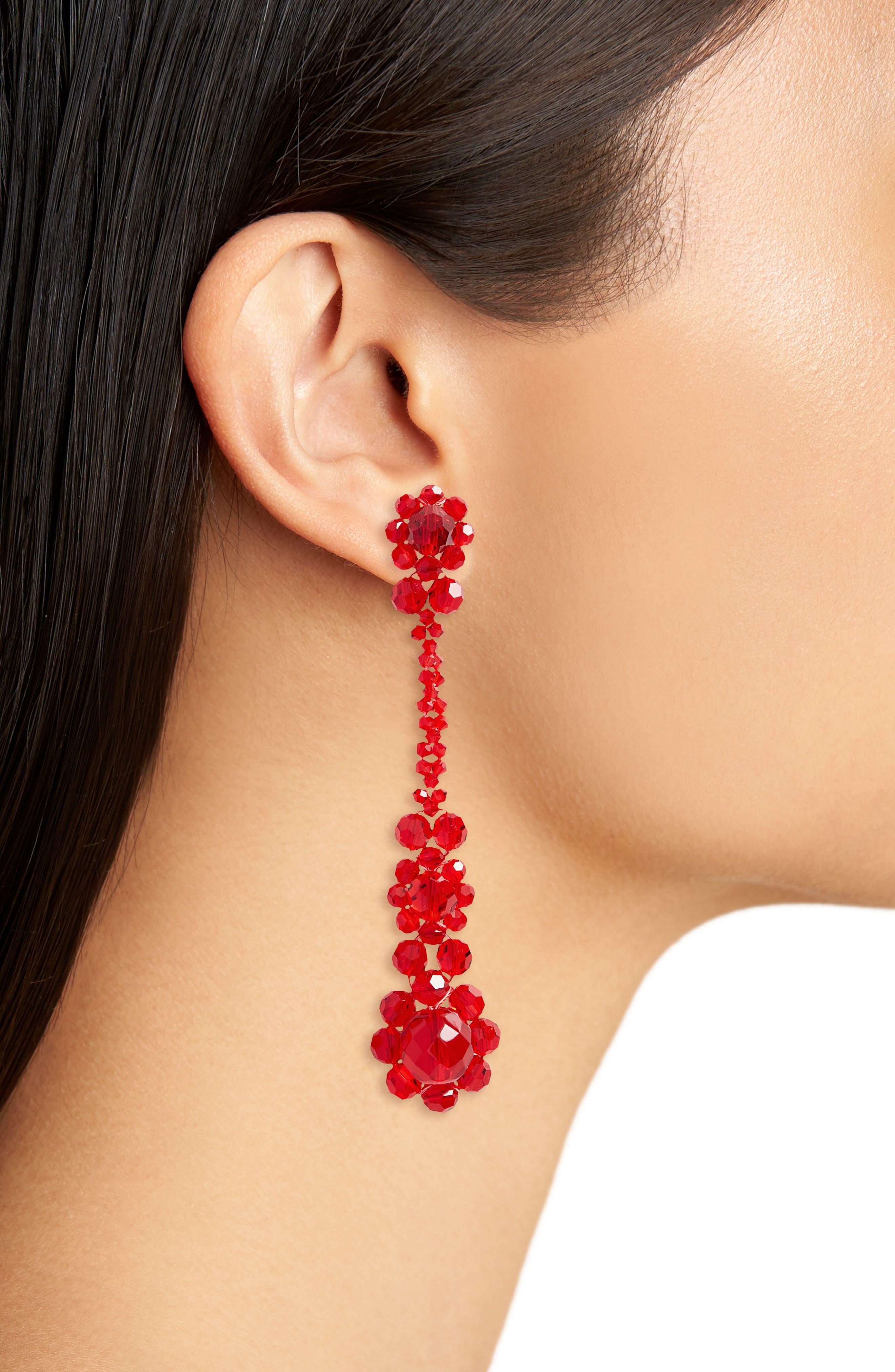 Crystal Drop Earrings,                             Alternate thumbnail 2, color,                             RED