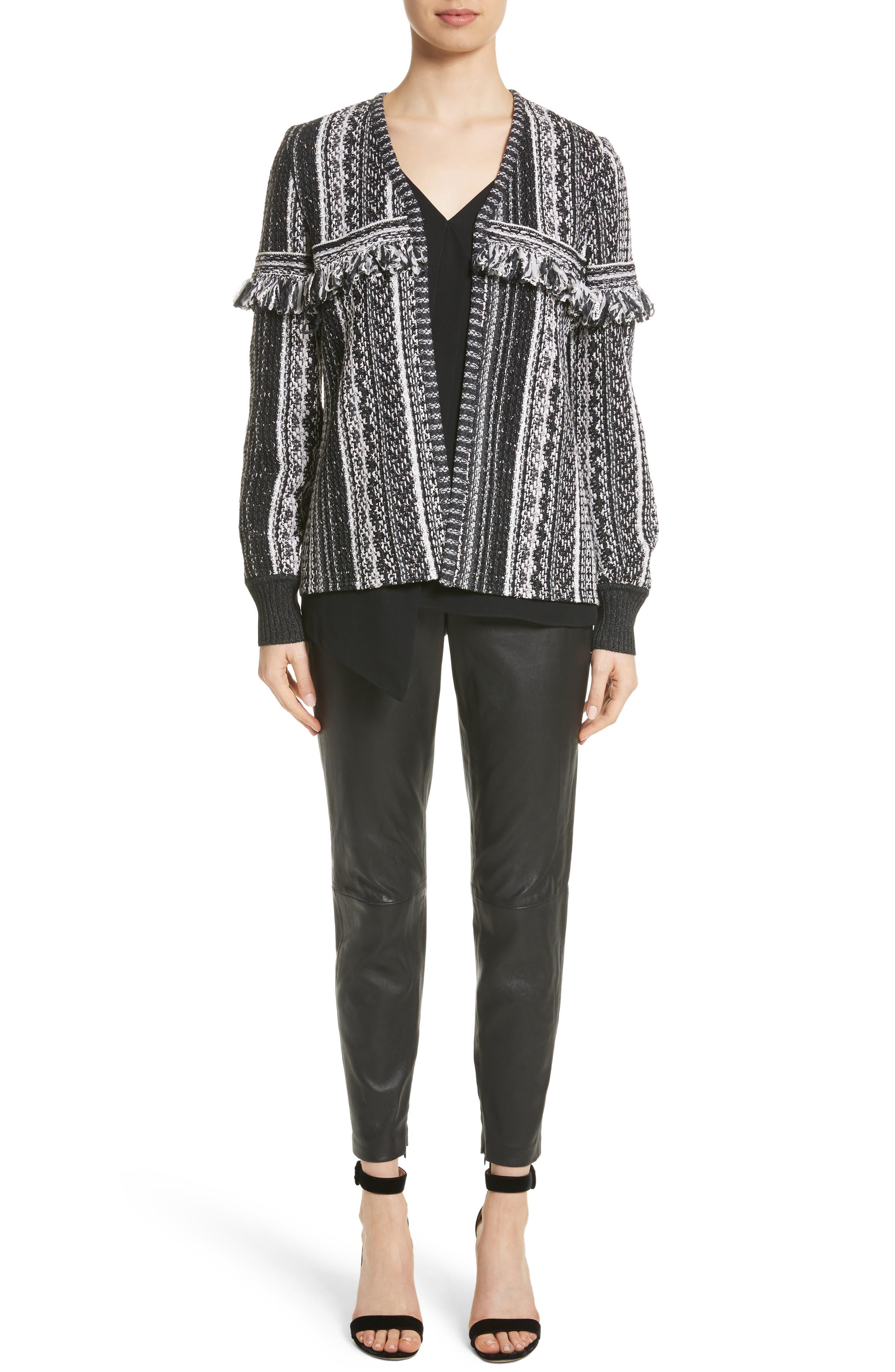 Fringe Vertical Ombré Stripe Tweed Knit Jacket,                             Alternate thumbnail 7, color,                             001