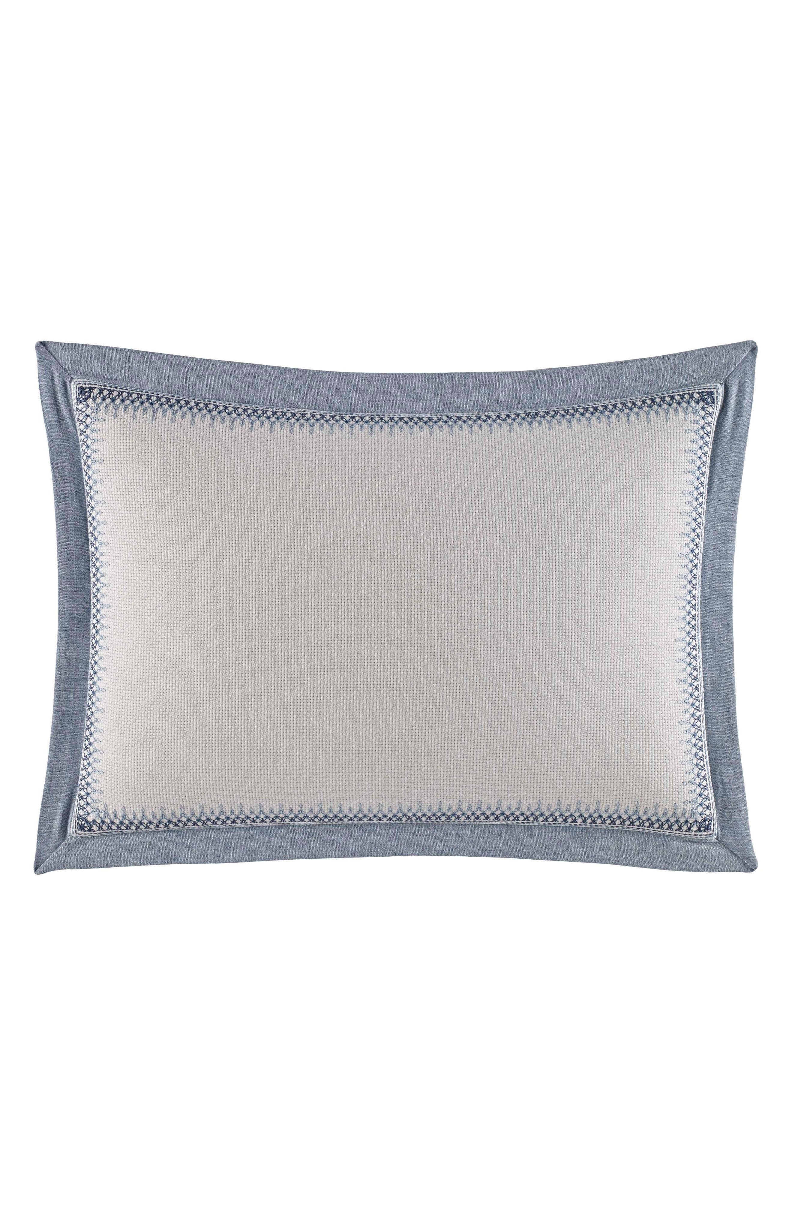 NAUTICA,                             Abbot Embroidered Accent Pillow,                             Main thumbnail 1, color,                             MEDIUM BLUE