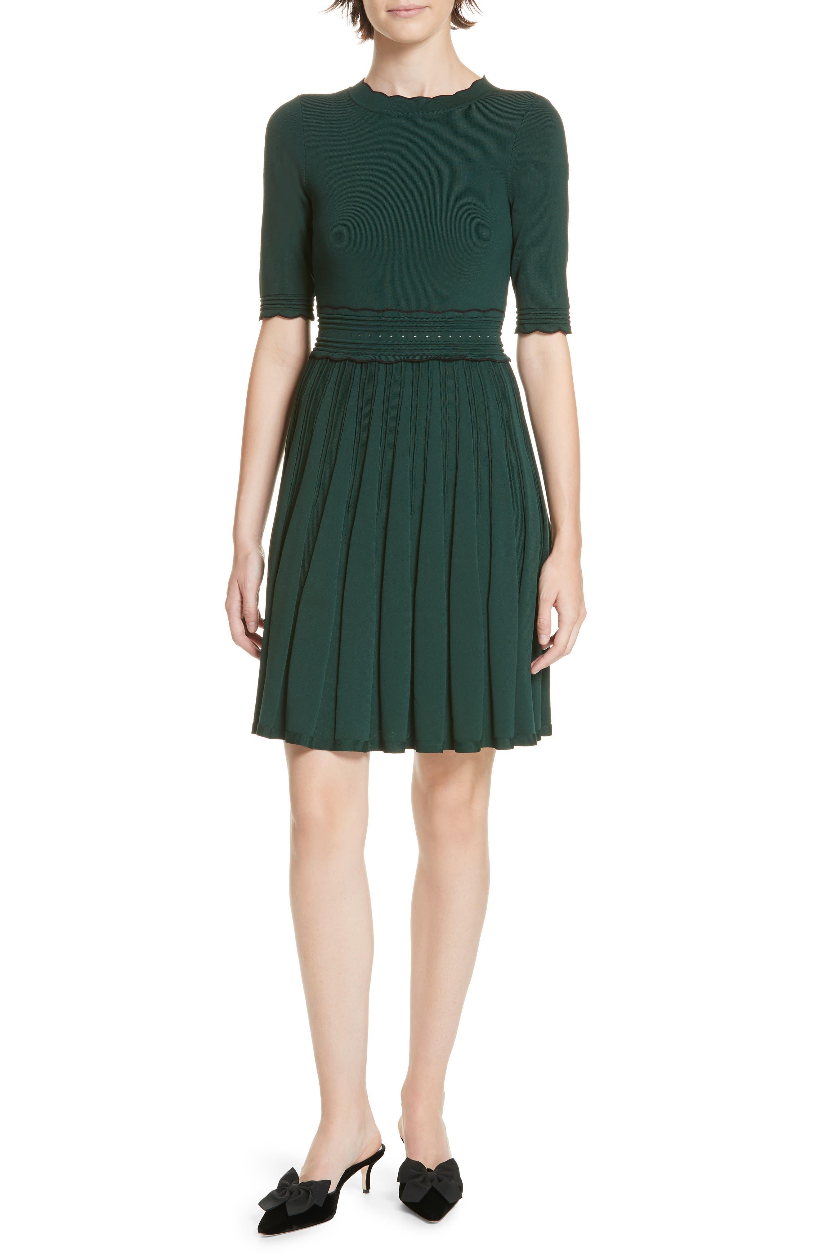 Dorlean Knit Dress,                             Main thumbnail 1, color,                             DARK GREEN