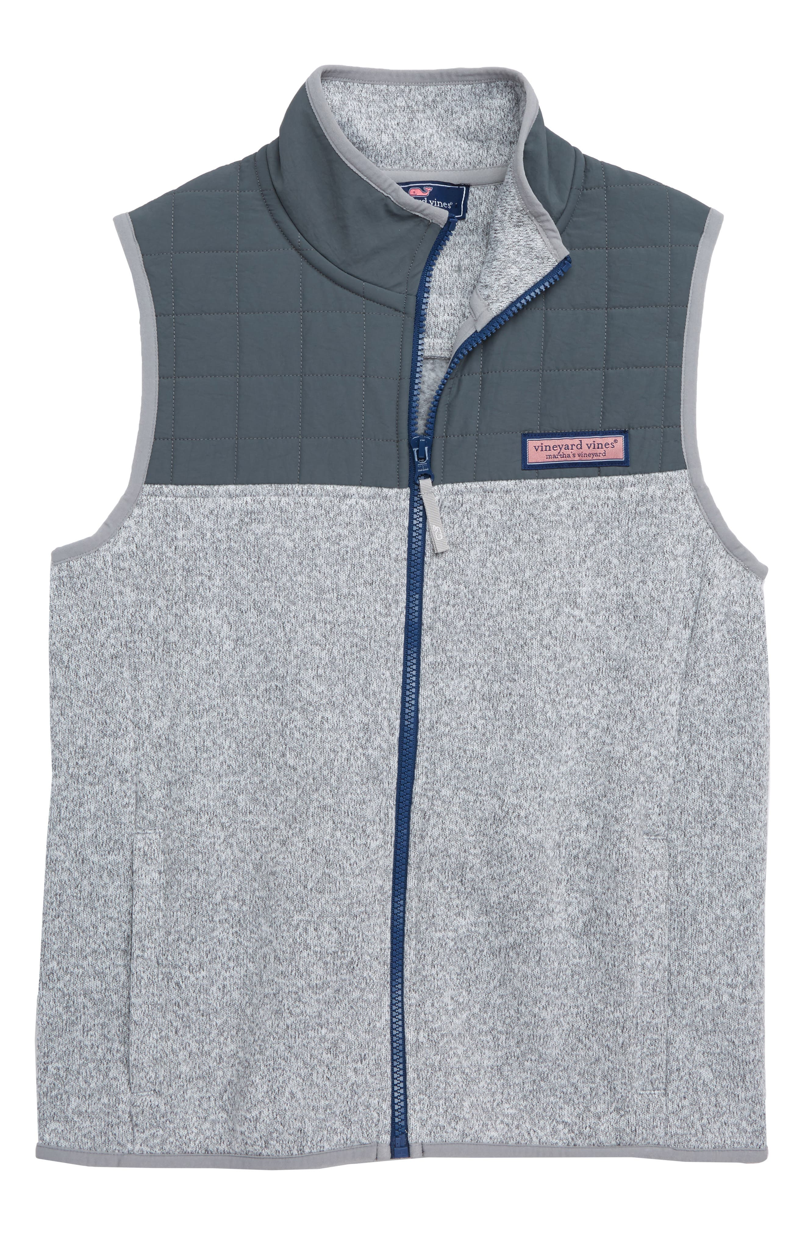 Sweater Fleece Quilted Vest,                         Main,                         color, GRAY HEATHER