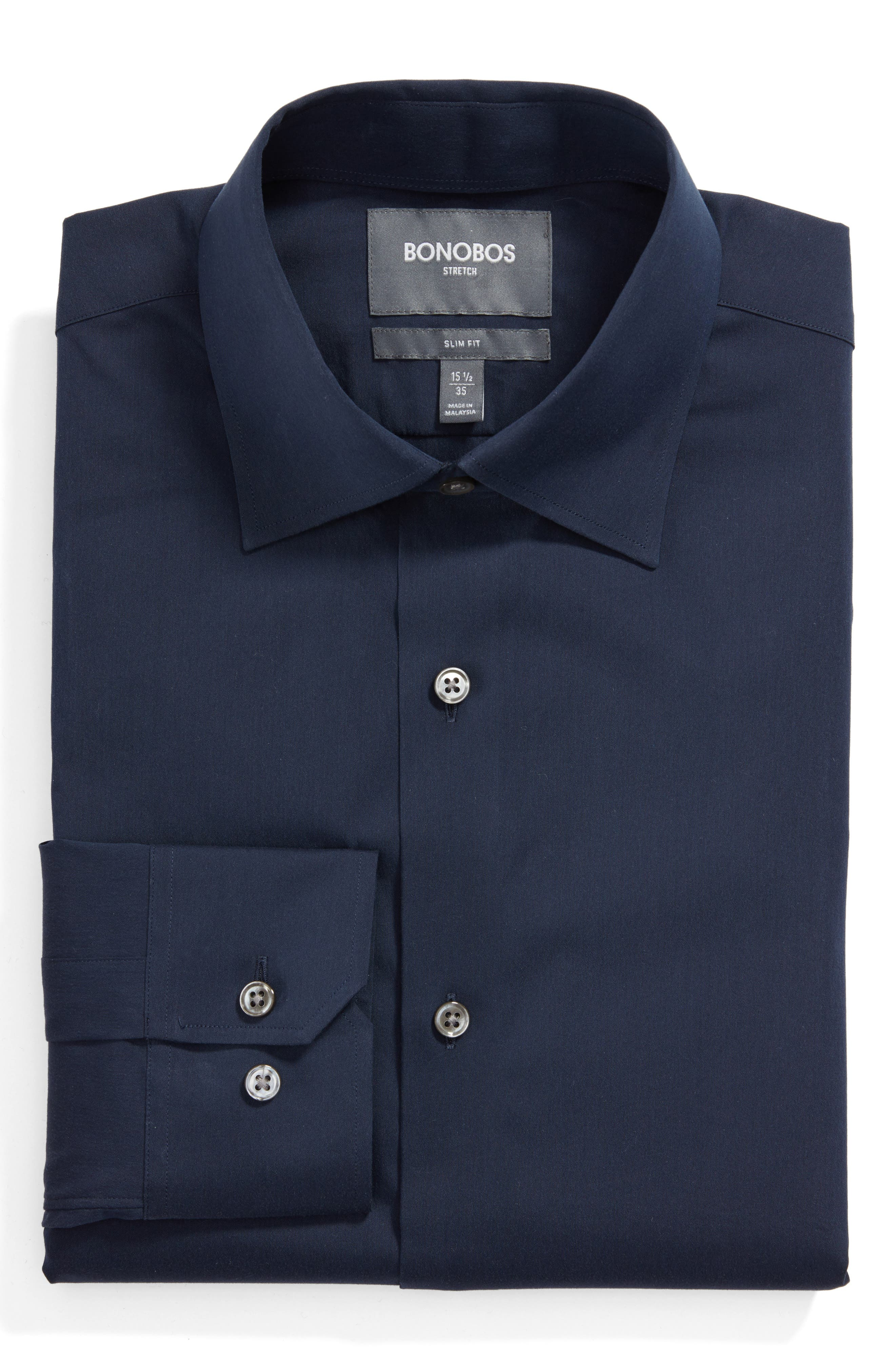 Slim Fit Solid Dress Shirt,                         Main,                         color, SOLID NAVY