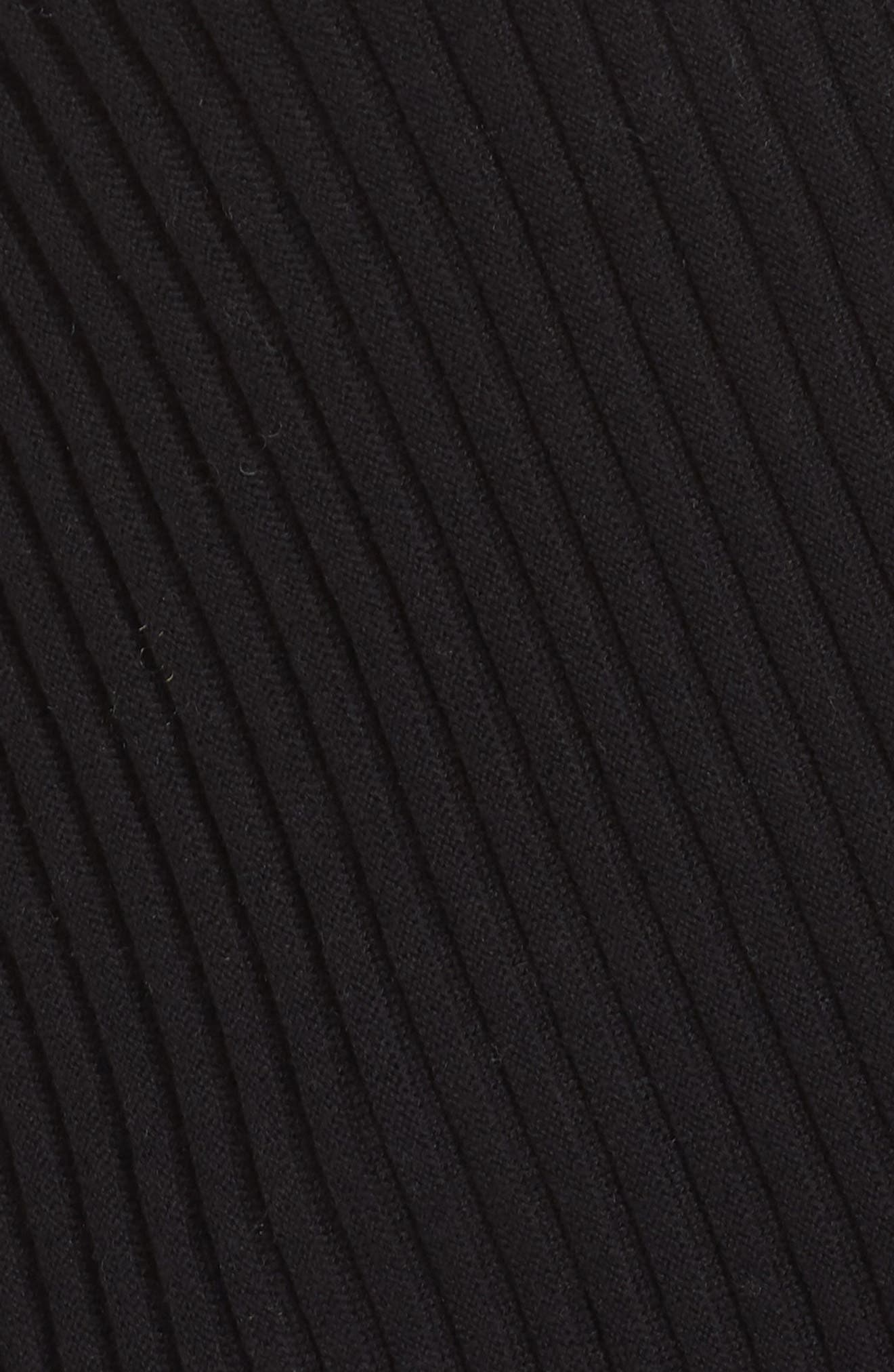 Cuff Sleeve Ribbed Sweater,                             Alternate thumbnail 5, color,                             BLACK