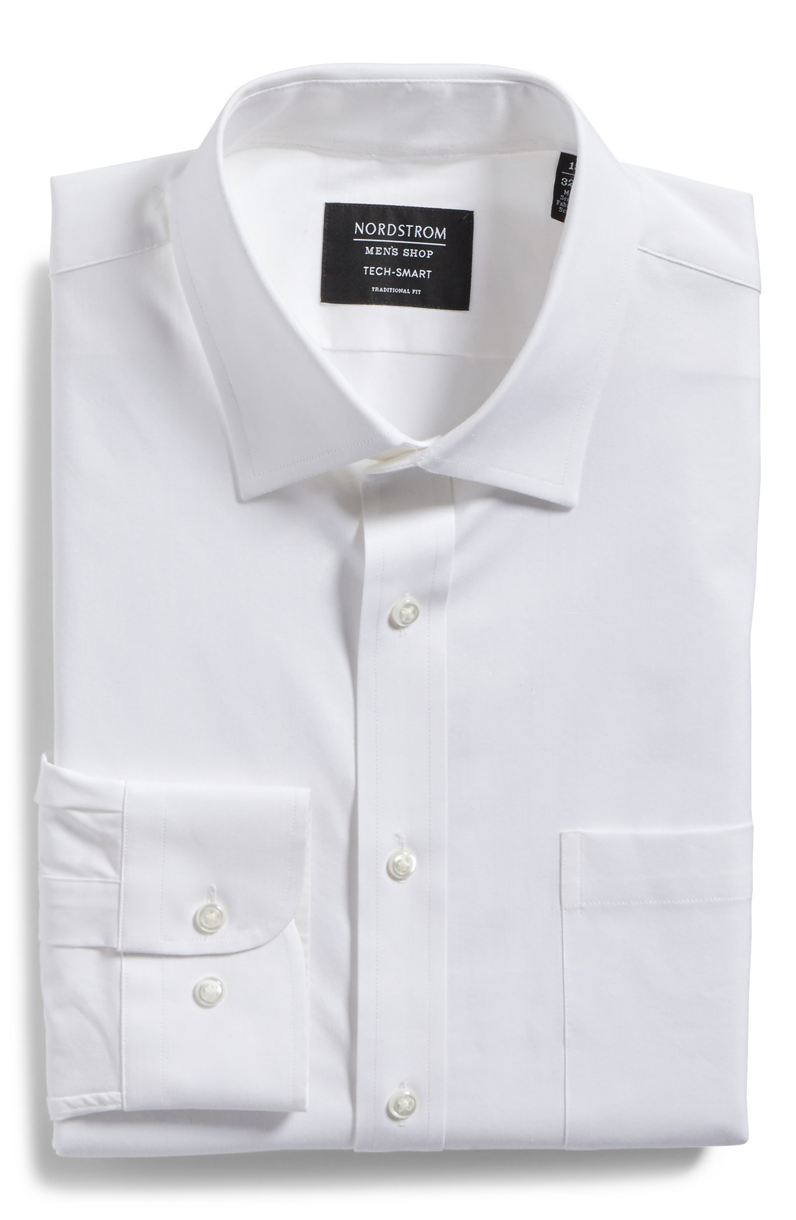 Tech-Smart Traditional Fit Stretch Pintpoint Dress Shirt,                             Alternate thumbnail 3, color,                             WHITE