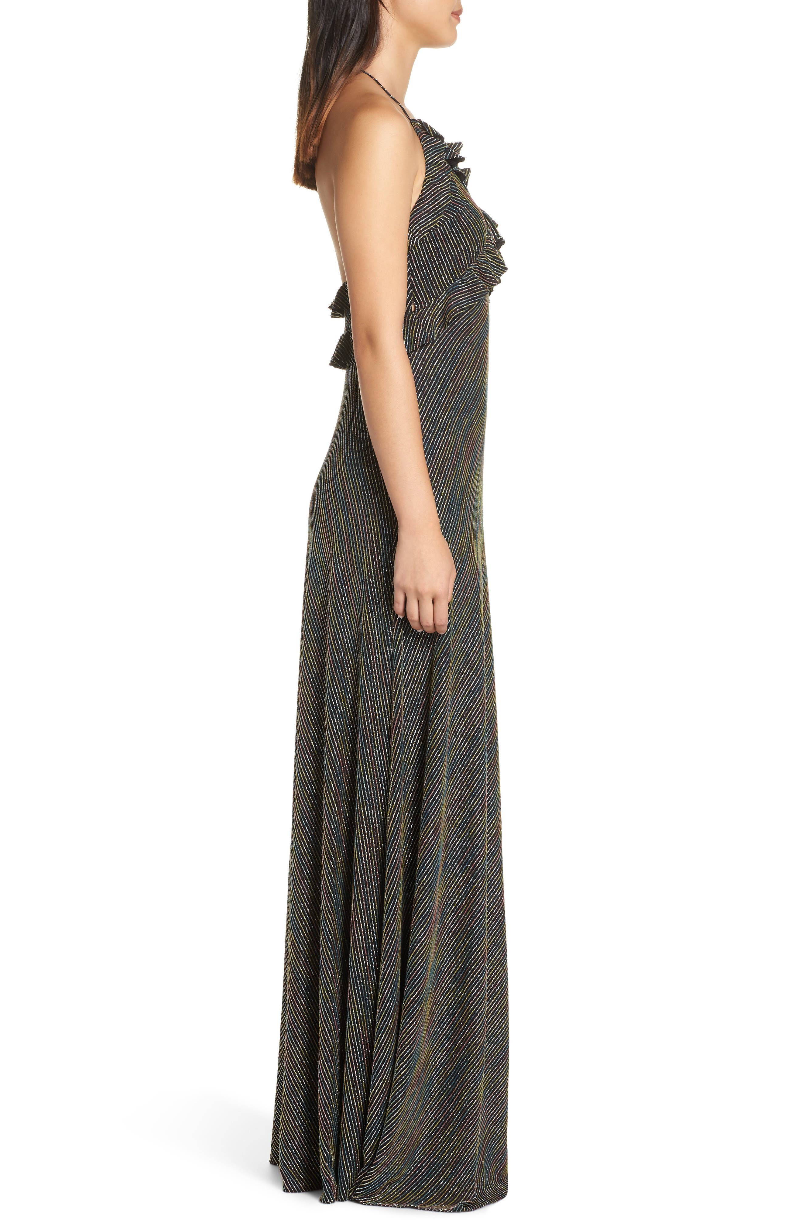 JILL JILL STUART,                             Marjan Metallic Knit Gown,                             Alternate thumbnail 3, color,                             SILVER MULTI
