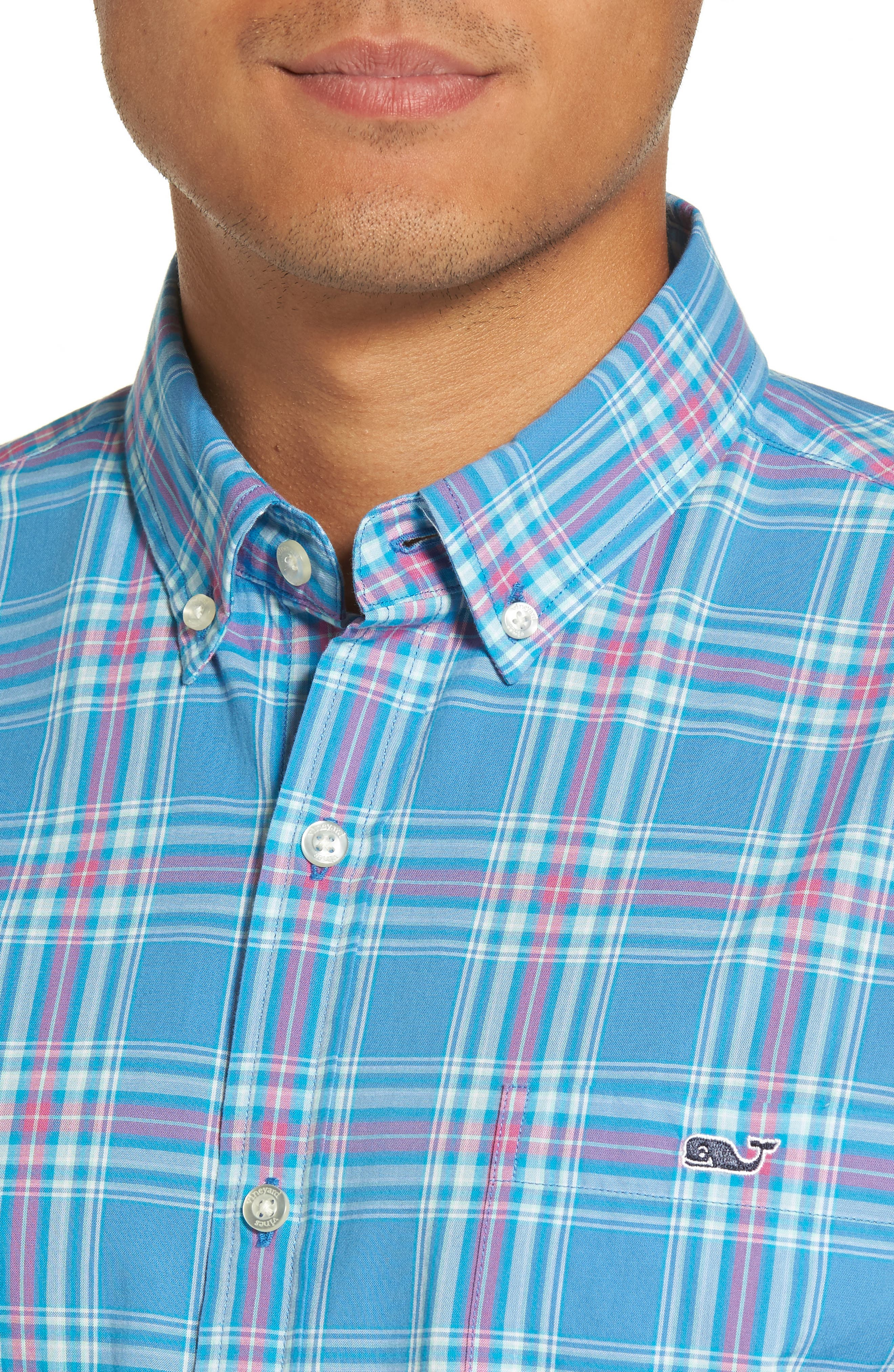 Pelon Plaid Tucker Slim Fit Sport Shirt,                             Alternate thumbnail 4, color,                             496