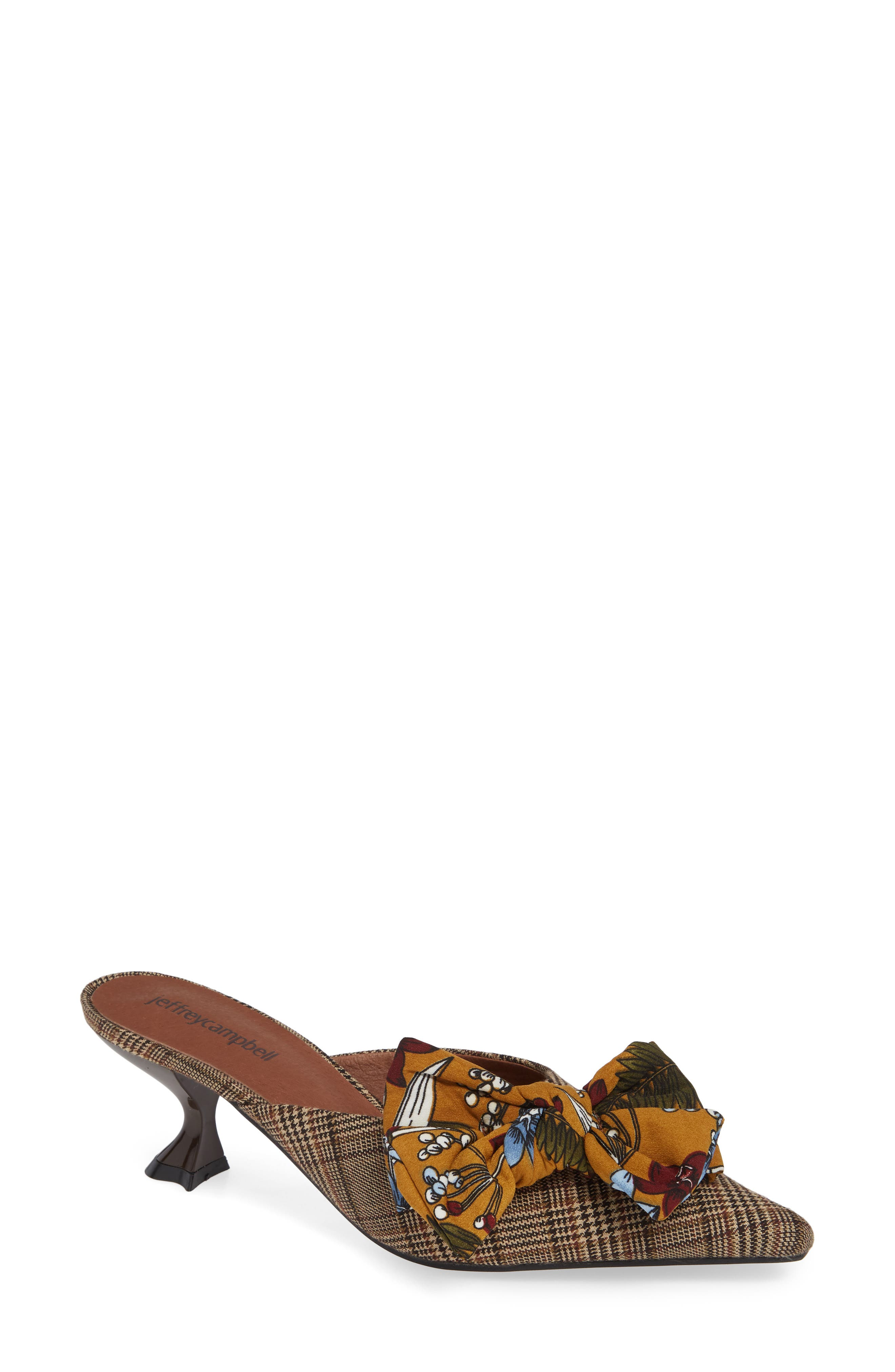Adorn Pointy Toe Mule,                             Main thumbnail 1, color,                             MUSTARD/ NAVY FLORAL MULTI