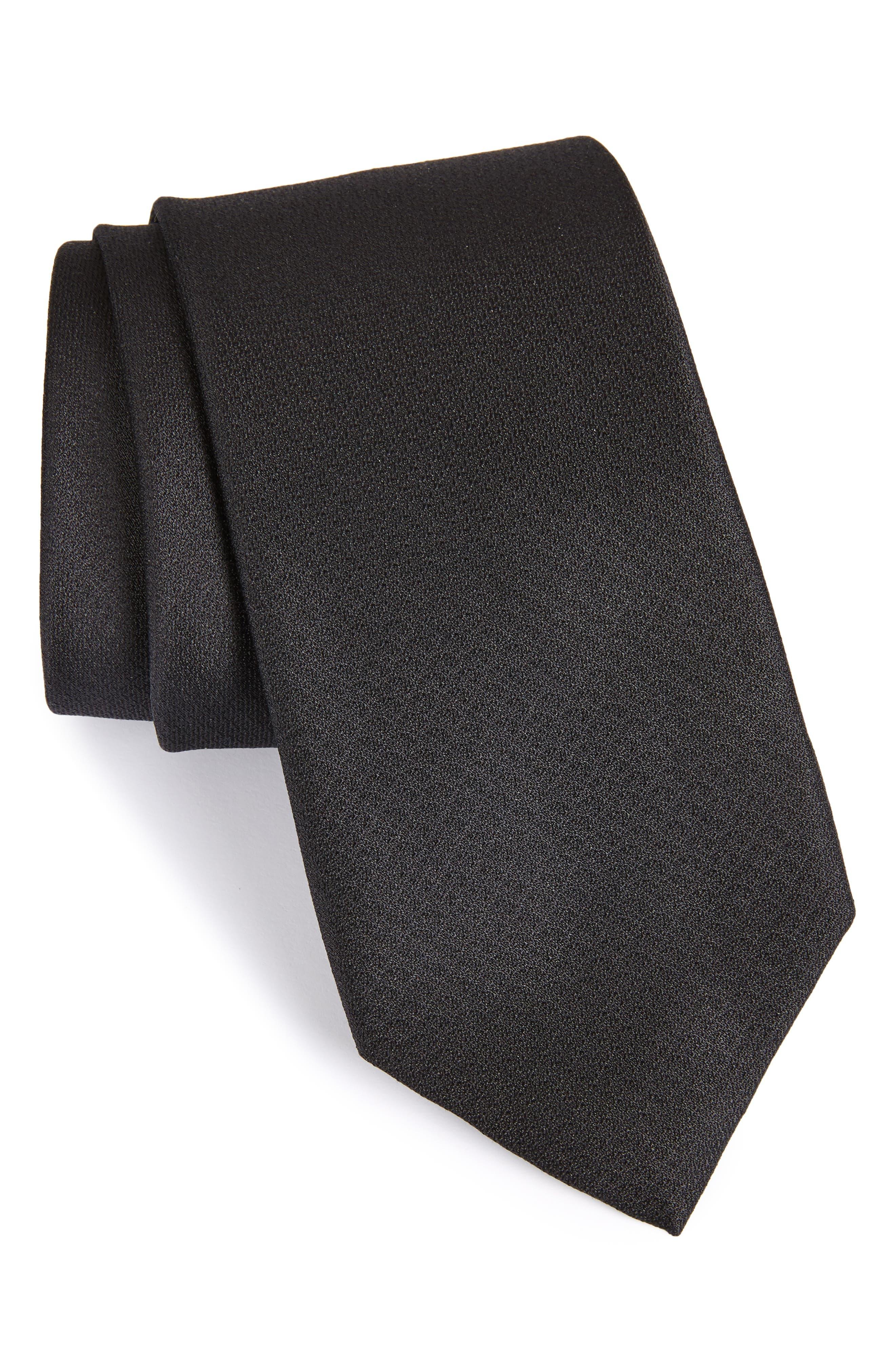 Clara Solid Silk Tie,                         Main,                         color, BLACK