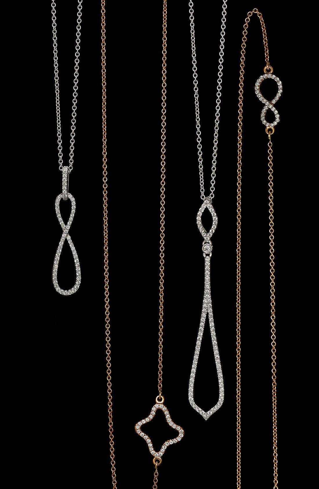 Pavé Diamond Sideways Infinity Symbol Pendant Necklace,                             Alternate thumbnail 3, color,                             710