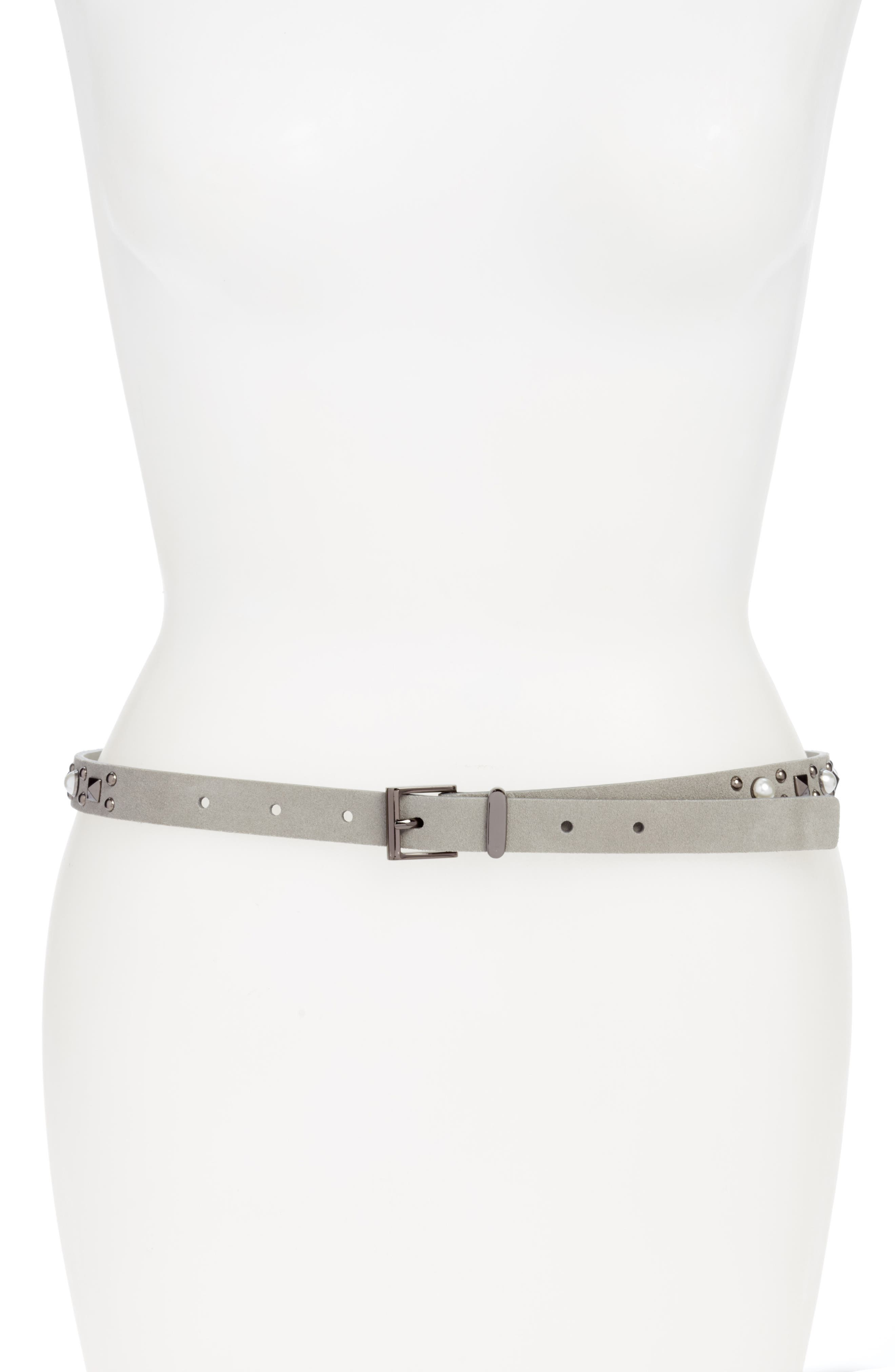 Imitation Pearl Studded Skinny Belt,                             Main thumbnail 1, color,