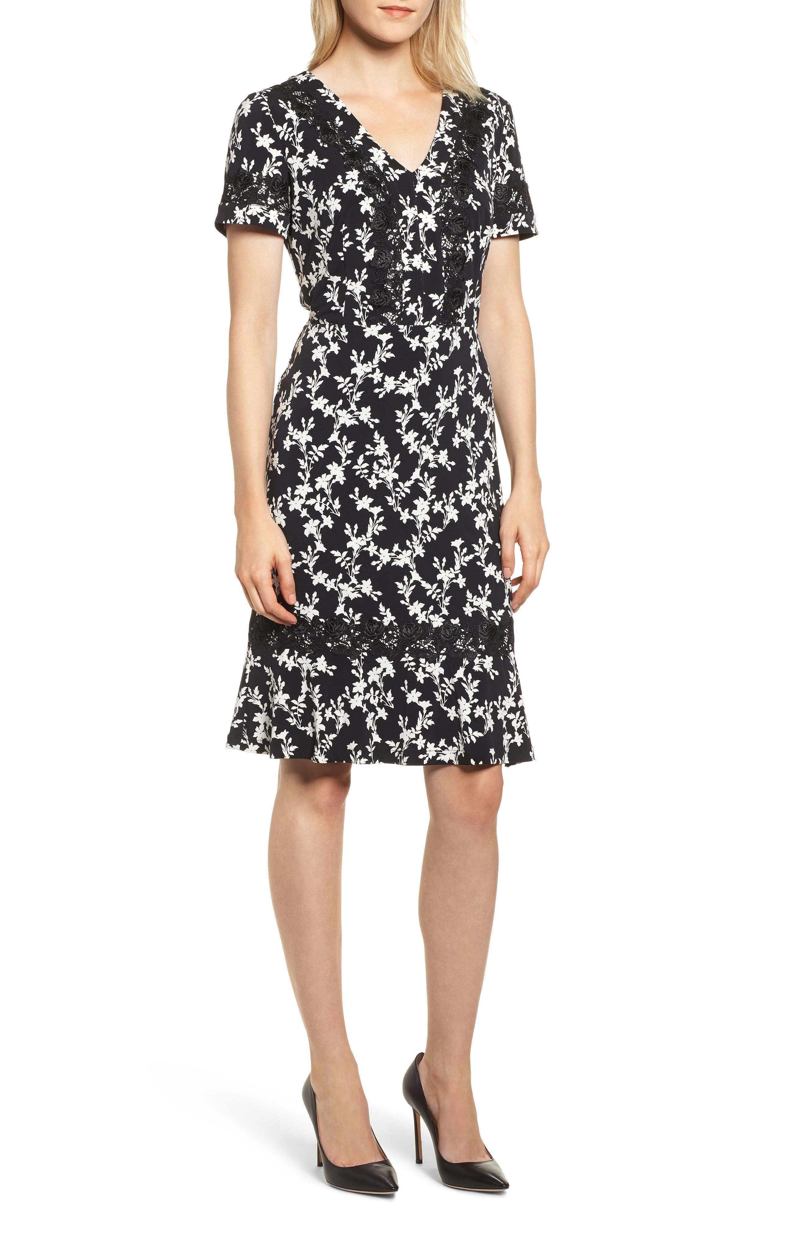 KARL LAGERFELD Floral-Print Short-Sleeve A-Line Dress in Multi