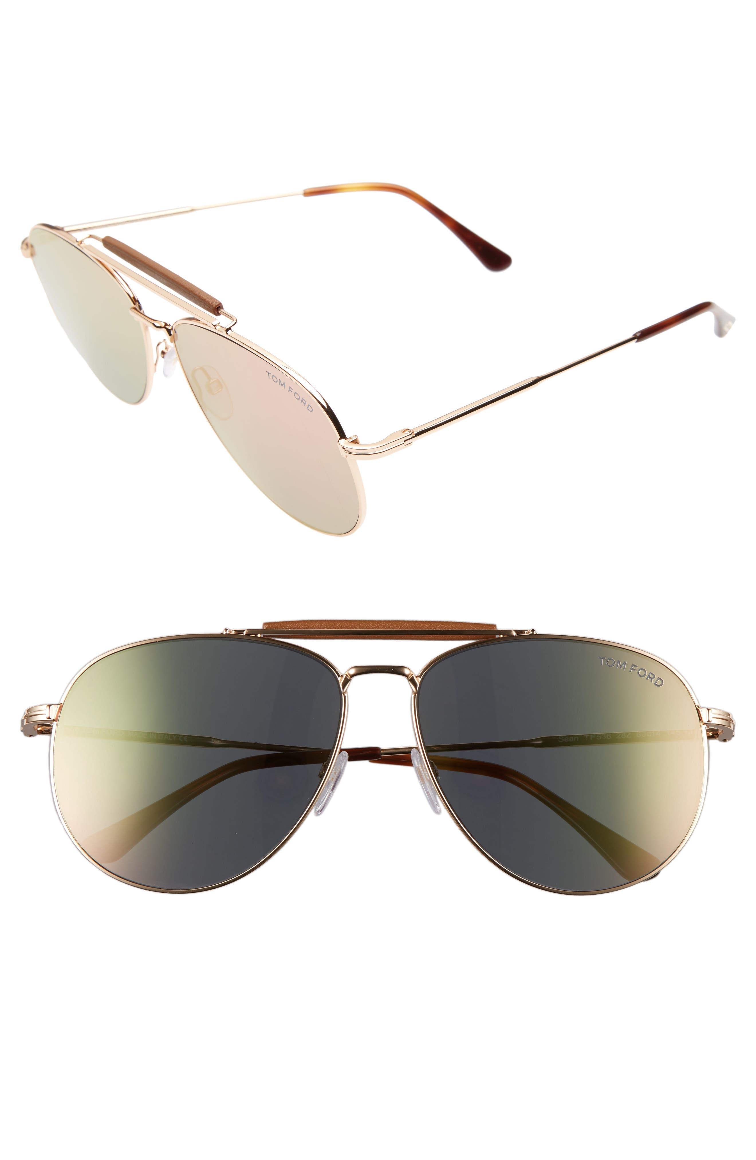 Sean 60mm Aviator Sunglasses,                             Main thumbnail 1, color,                             ROSE GOLD/ BROWN/ PINK MIRROR