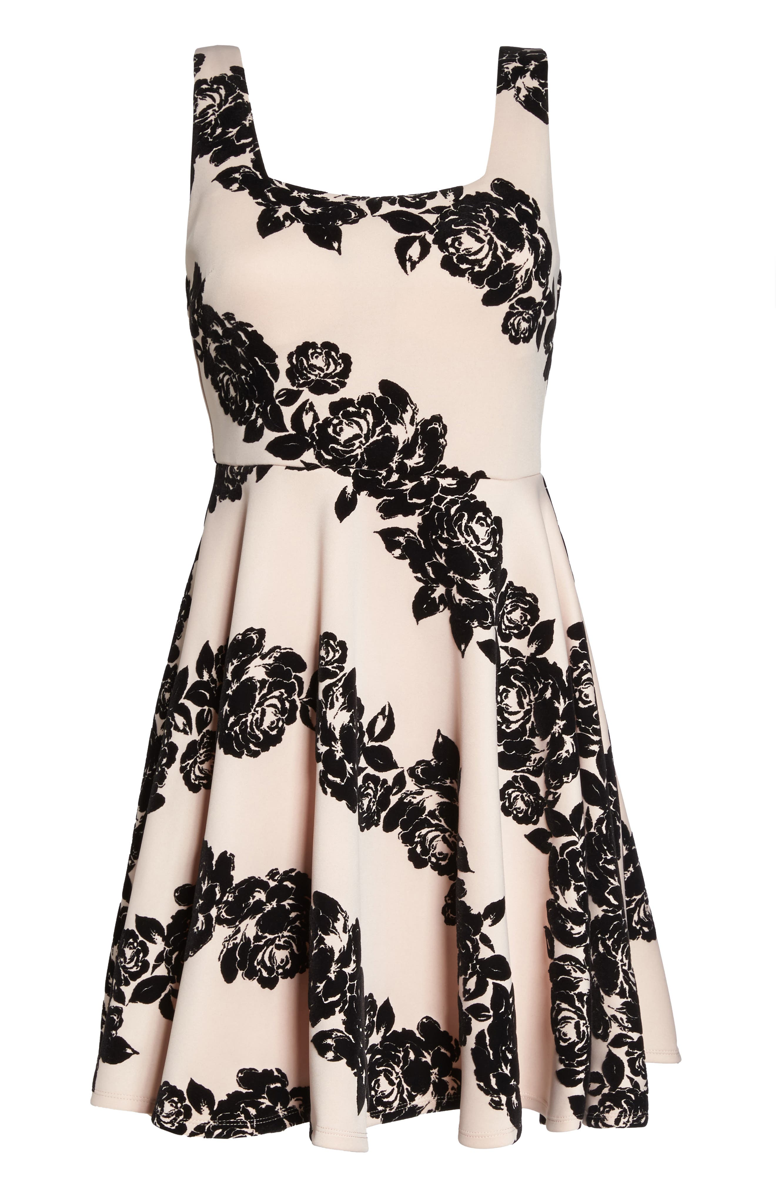 Floral Flocked Fit-and-Flare Dress,                             Alternate thumbnail 6, color,                             680