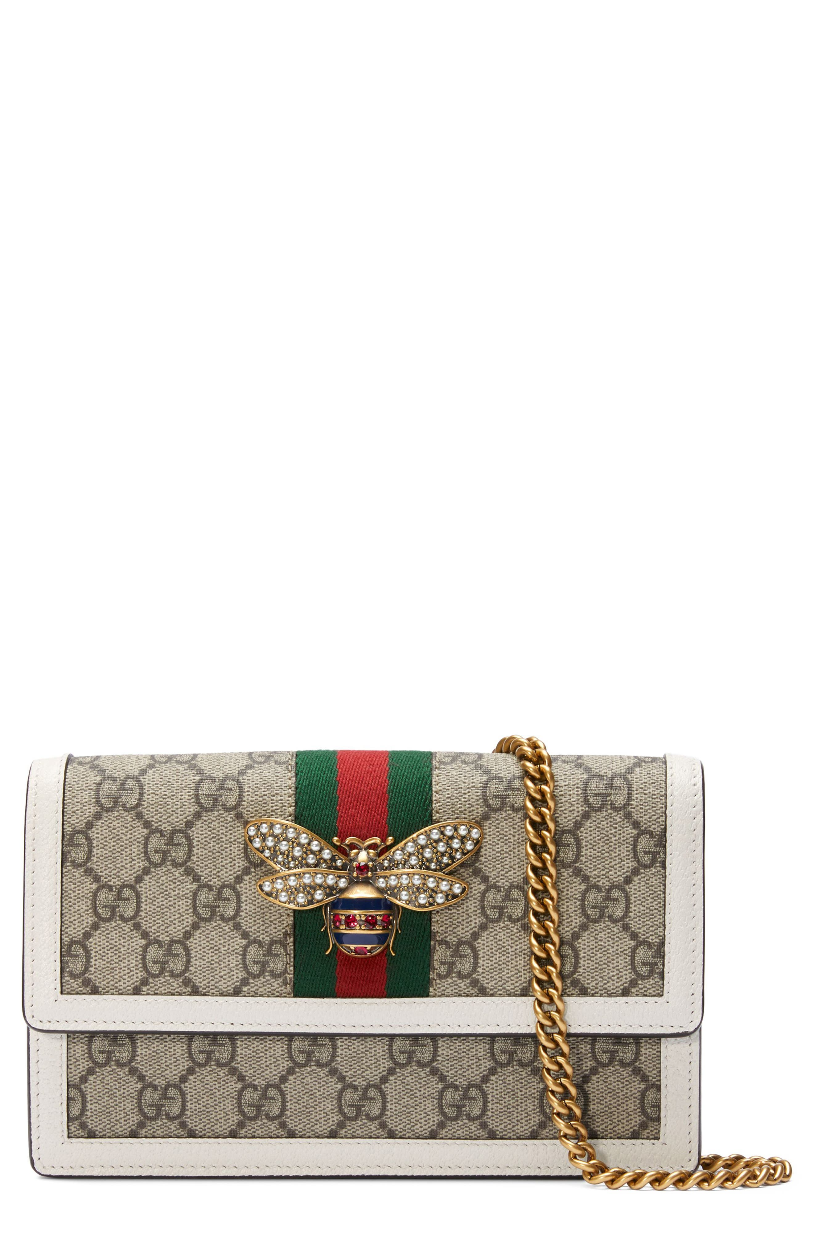 Queen Margaret GG Supreme Canvas Wallet on a Chain,                         Main,                         color, 250
