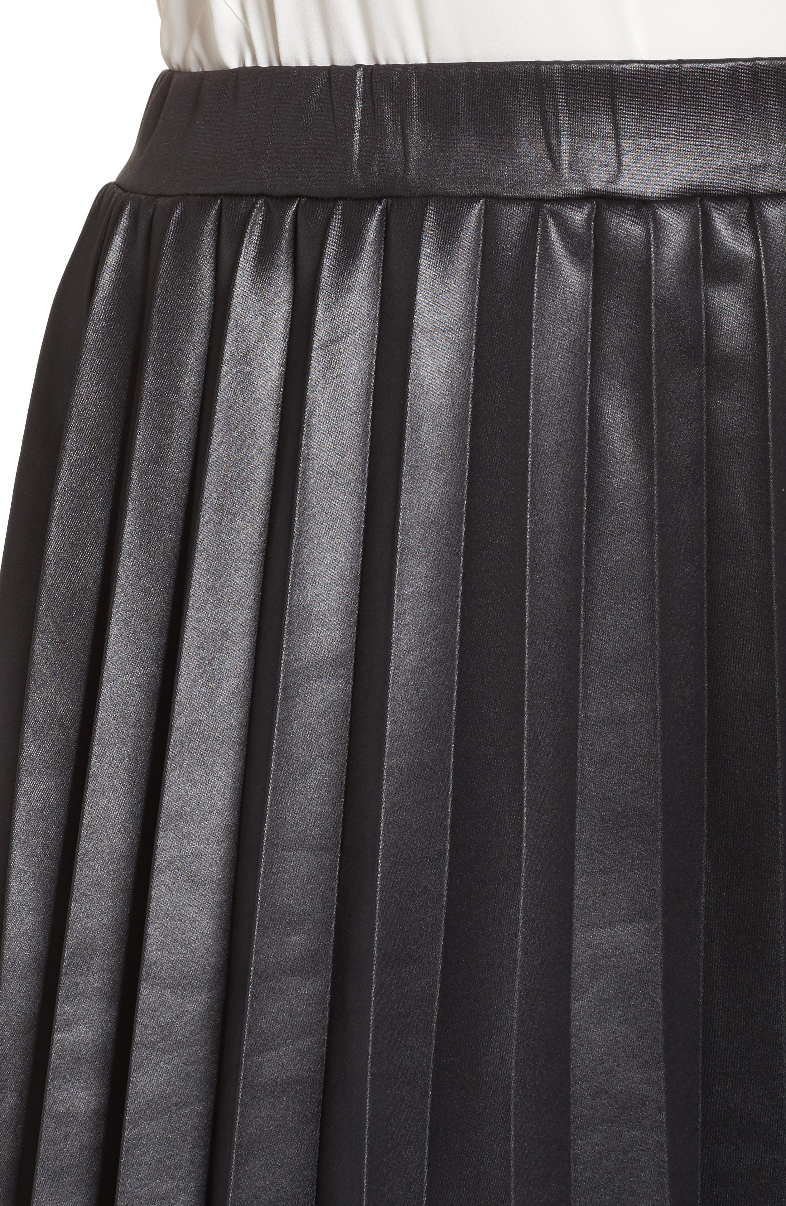 Coated Jersey Pleated Skirt,                             Alternate thumbnail 4, color,
