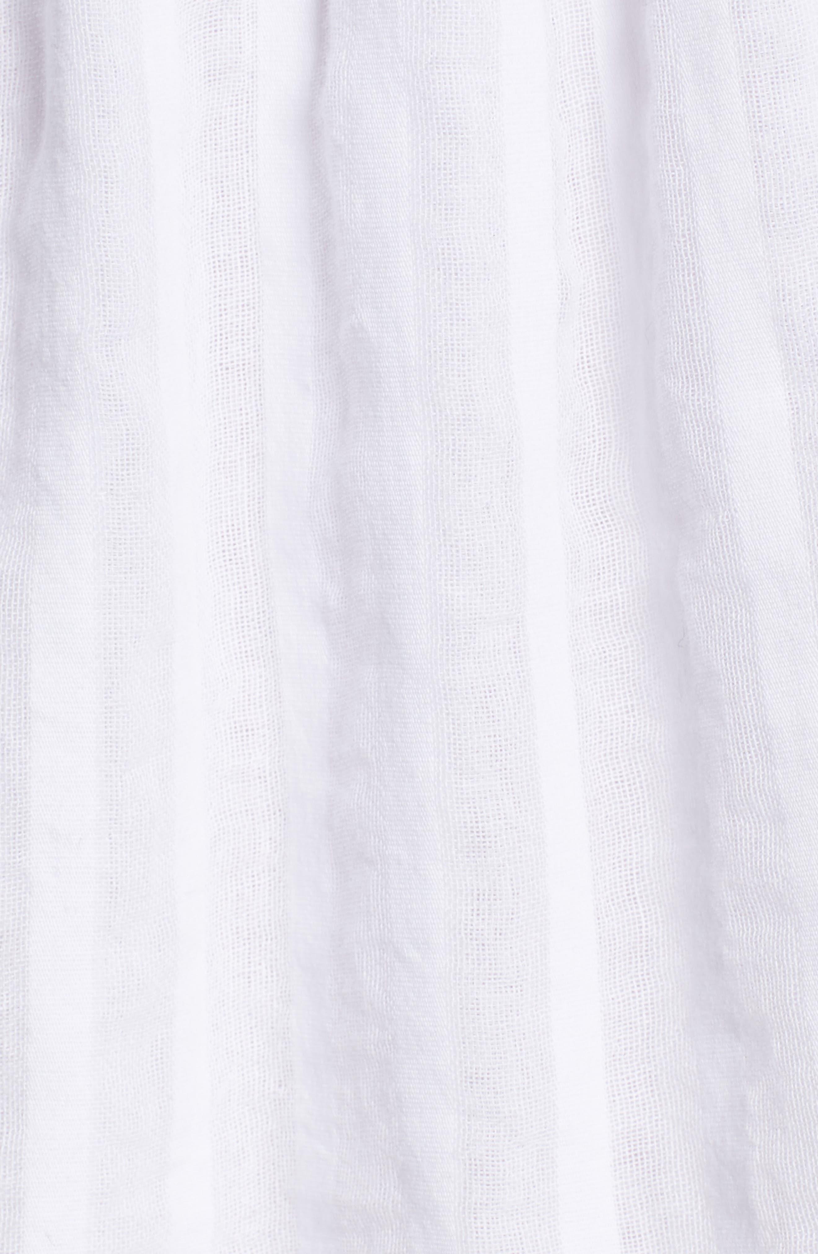 Lucca Blouson Cotton Dress,                             Alternate thumbnail 6, color,                             WHITE SHADOW STRIPE