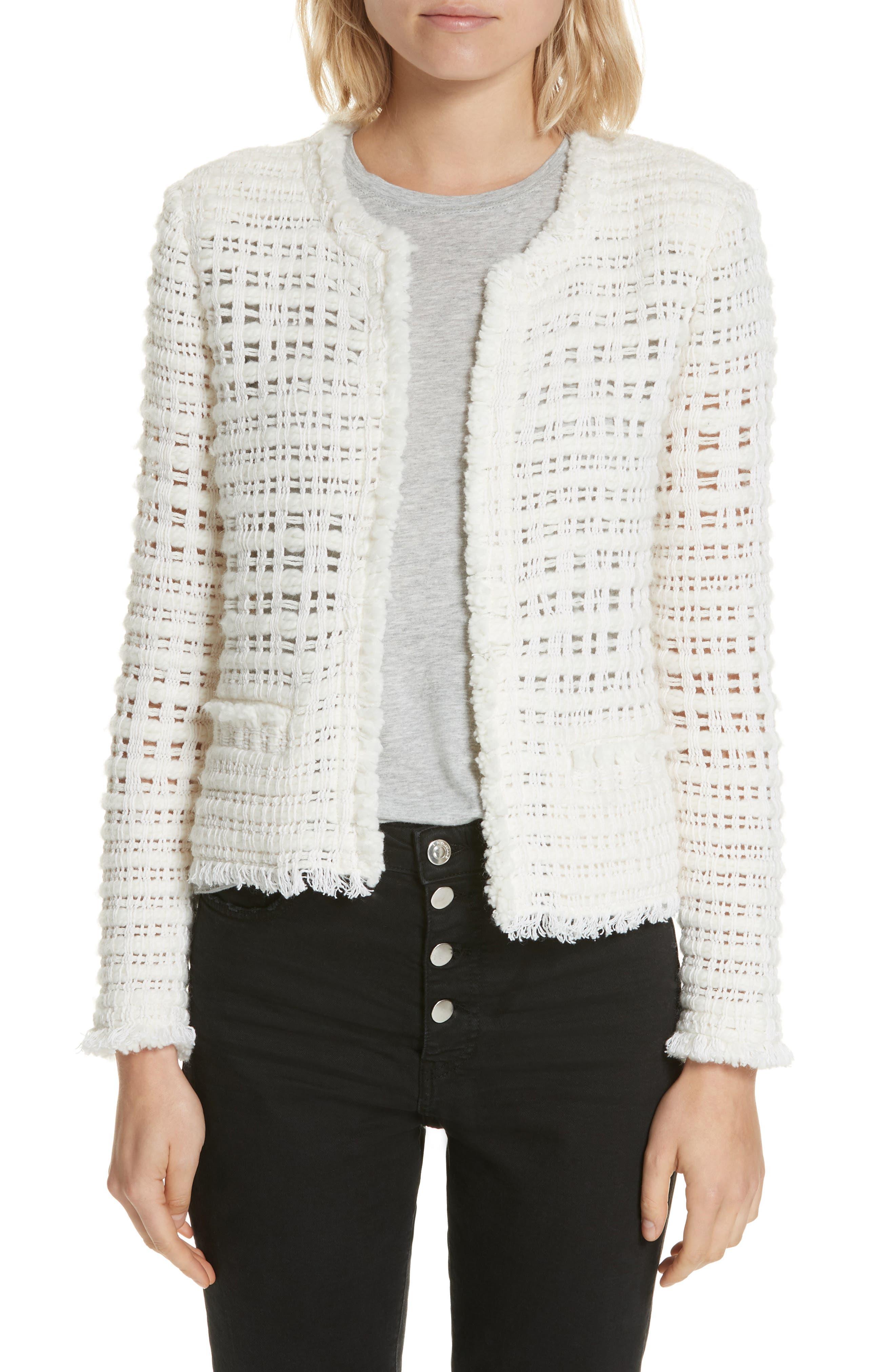 IRO Startle Open-Front Long-Sleeve Open-Knit Jacket in Ecru