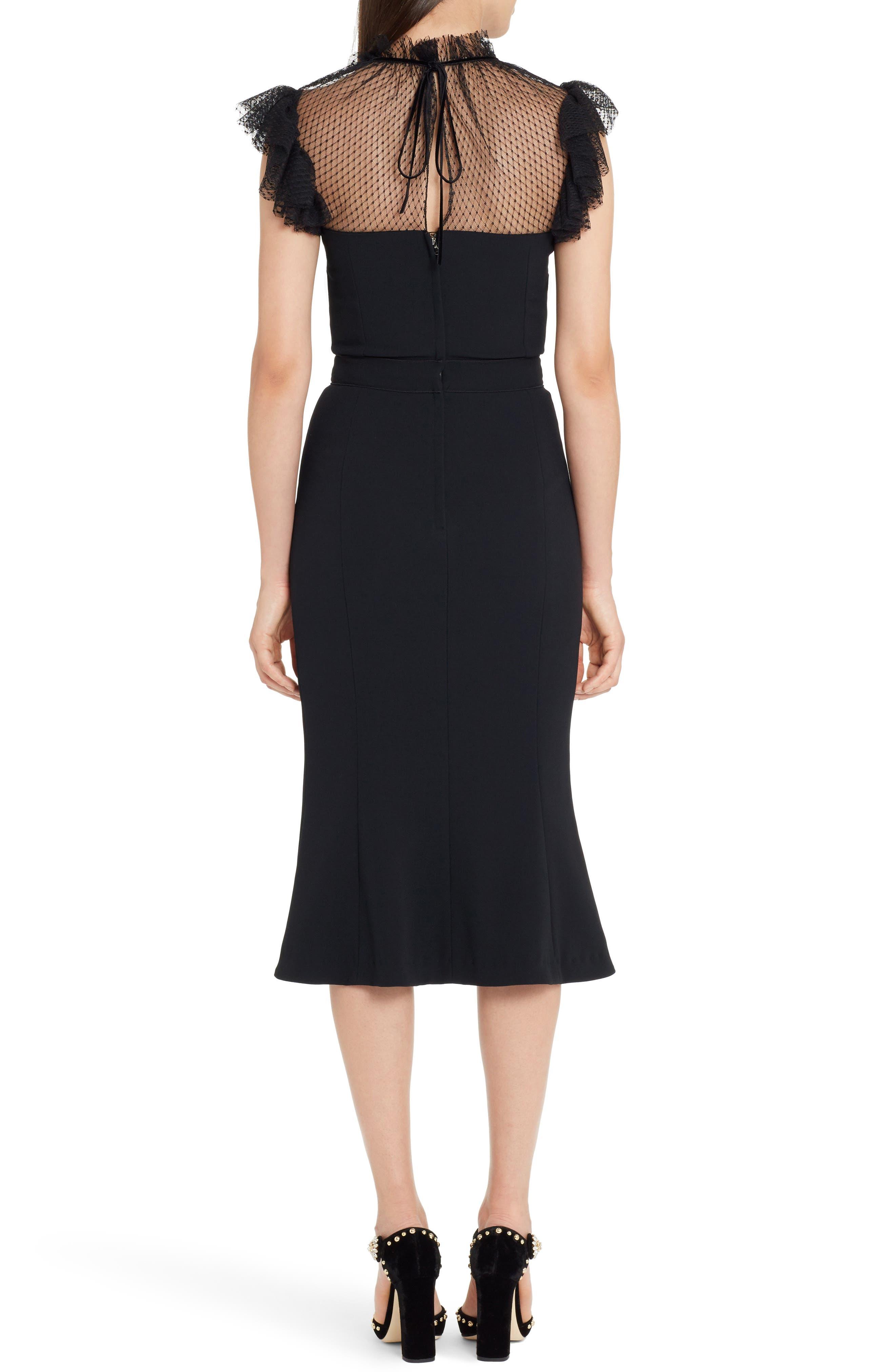 Mesh Yoke Stretch Cady Sheath Dress,                             Alternate thumbnail 2, color,                             BLACK