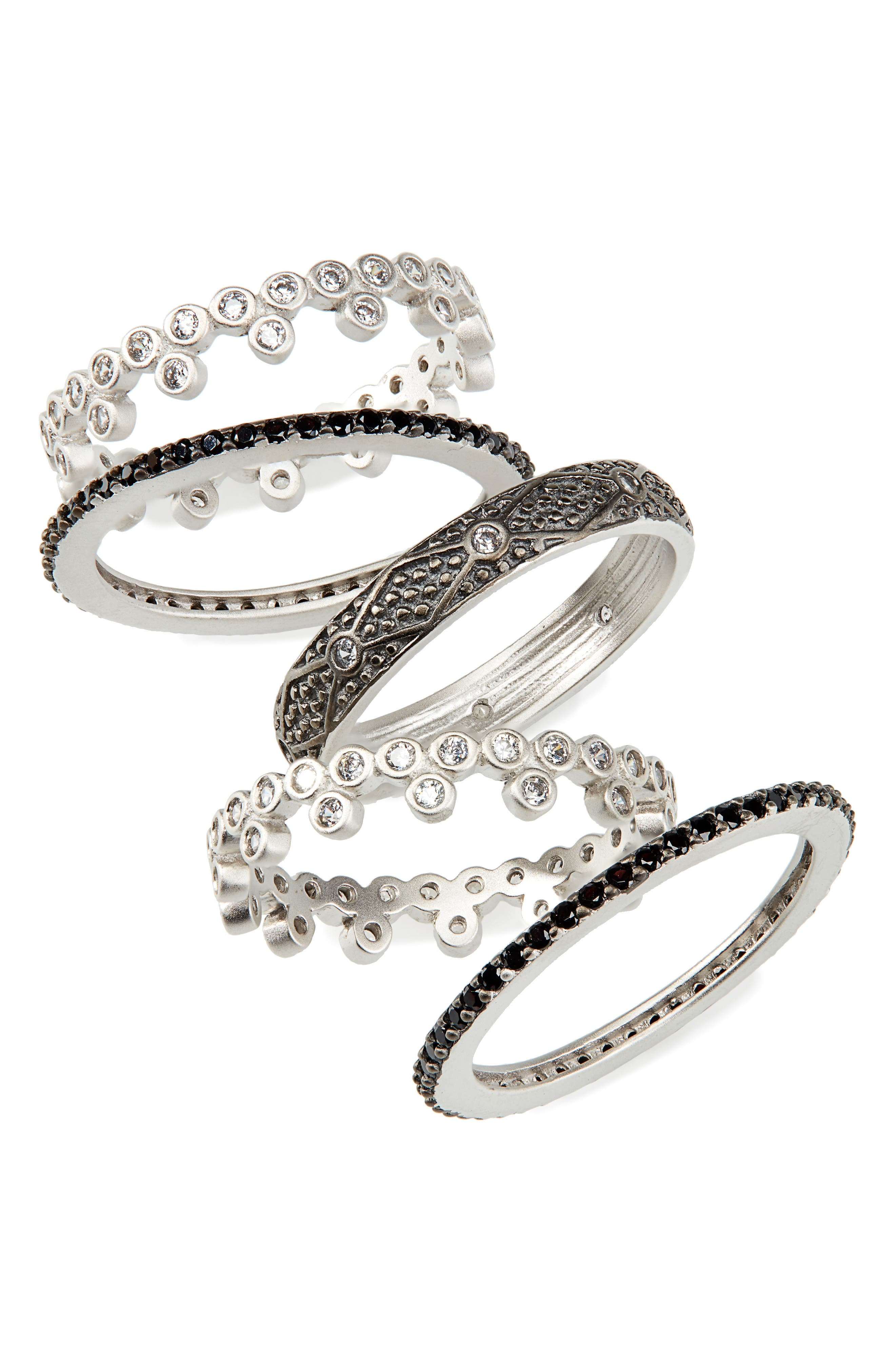 FREIDA ROTHMAN Industrial Finish 5-Set Stackable Rings in Black/ Silver