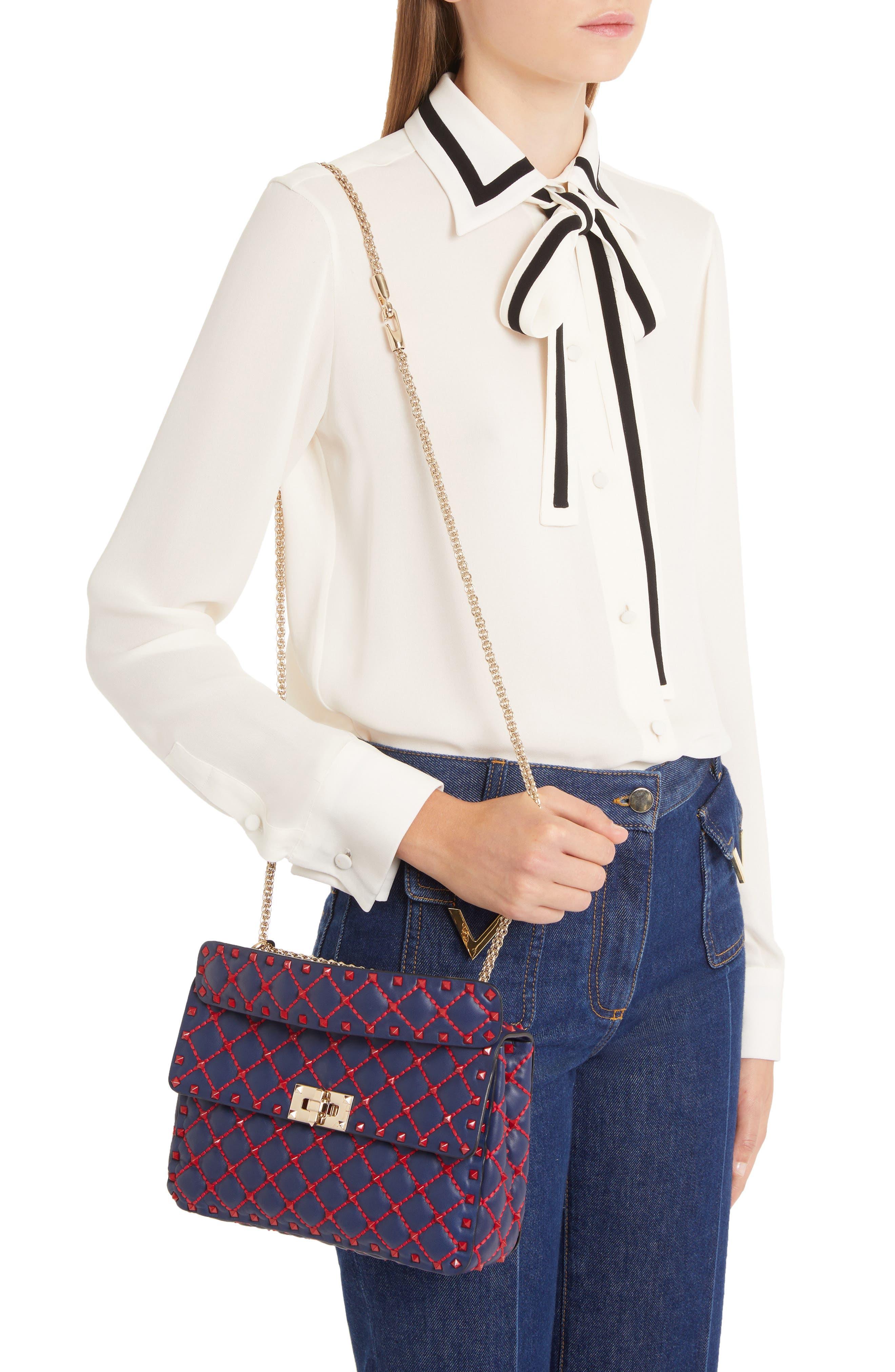 Medium Spike.It Leather Shoulder Bag,                             Alternate thumbnail 2, color,                             PURE BLUE/ ROSSO