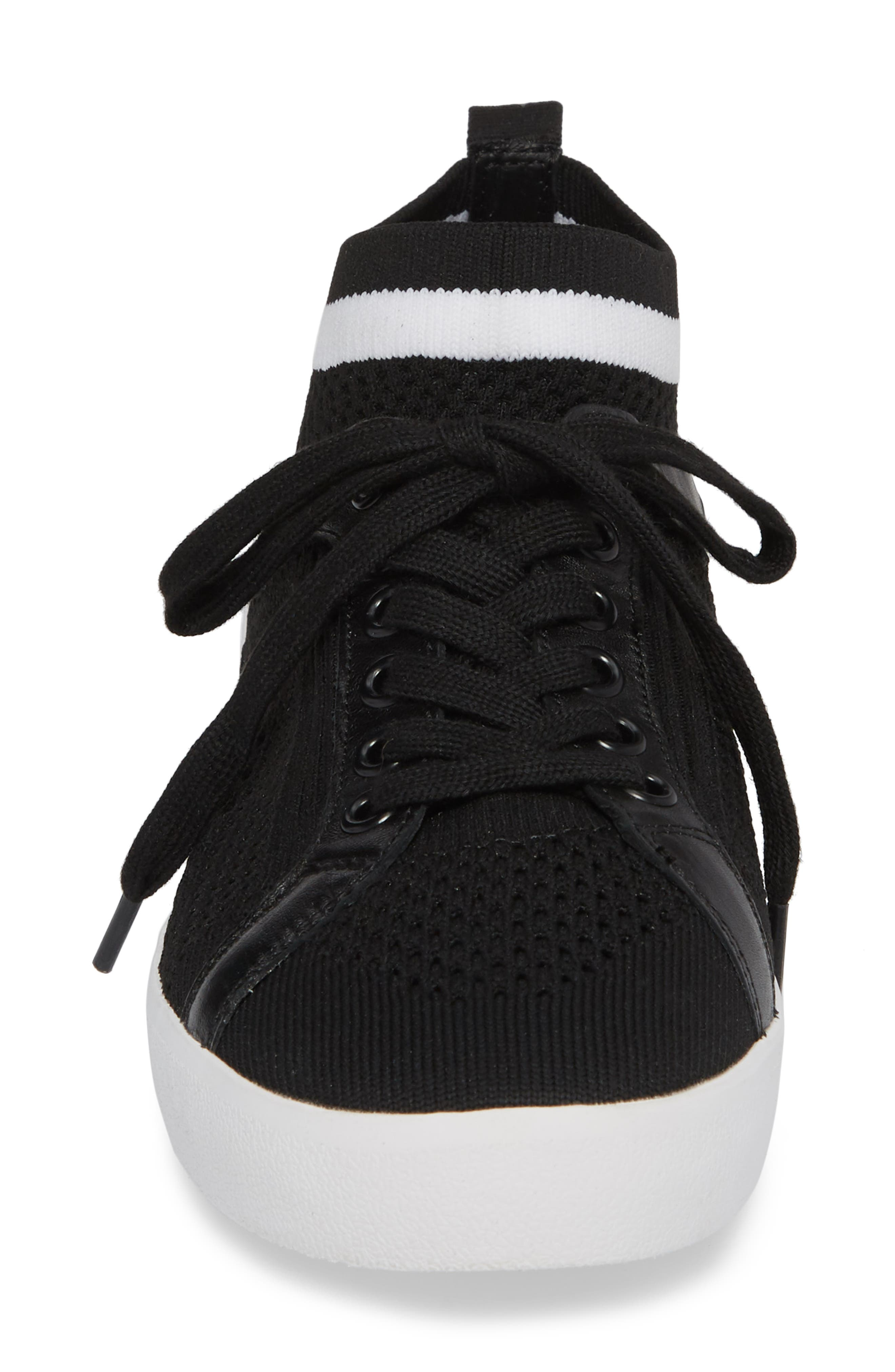 Nolita Mid Top Sock Sneaker,                             Alternate thumbnail 4, color,                             001