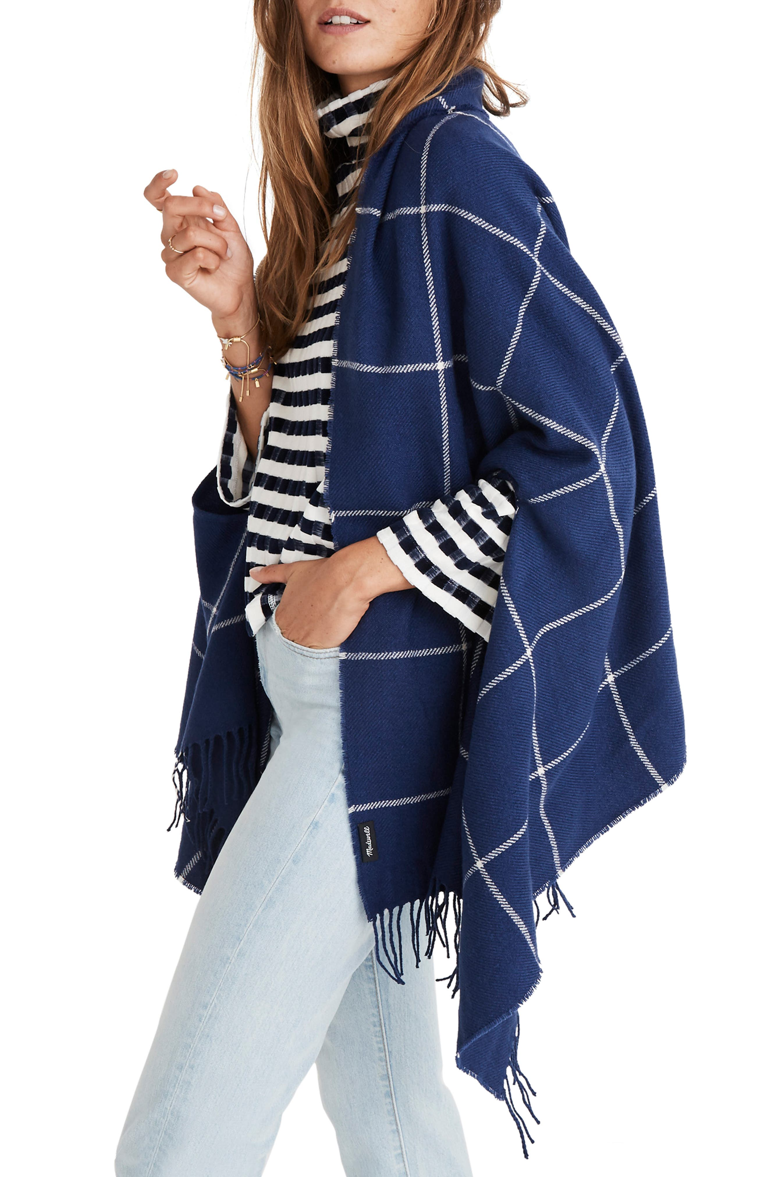 Windowpane Cape Scarf,                             Main thumbnail 1, color,                             400