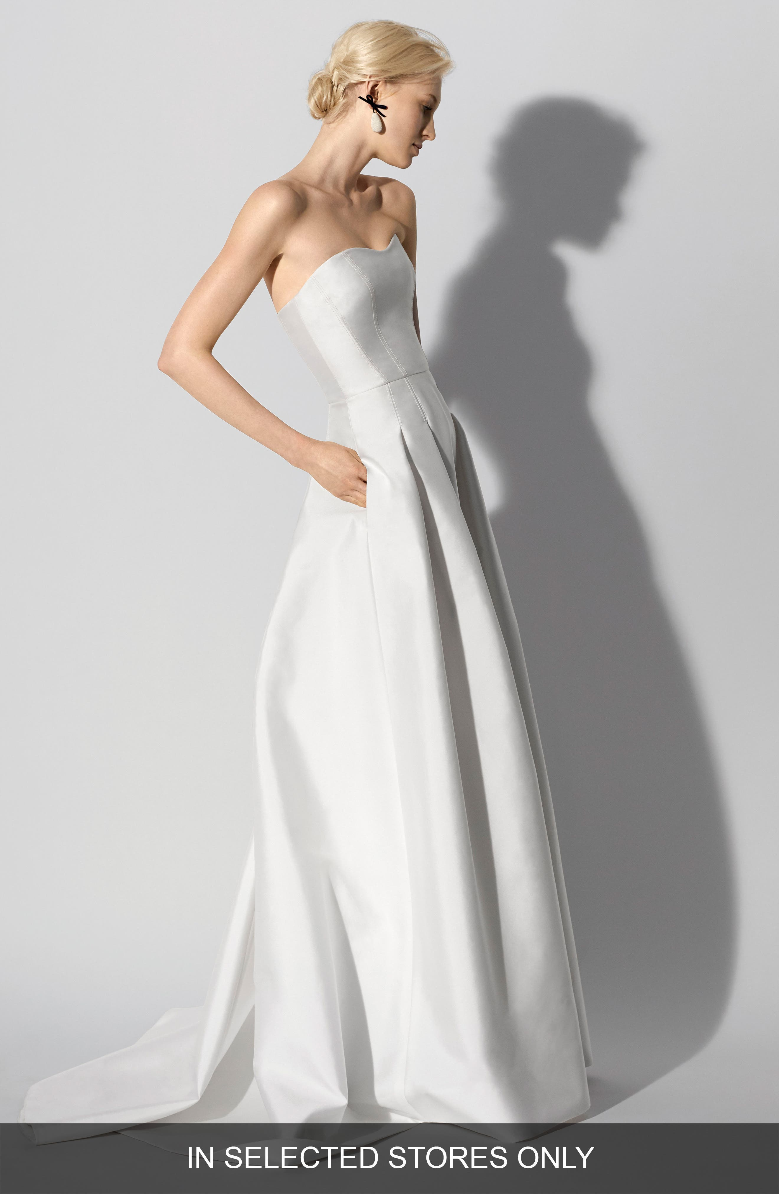 Fabel Strapless Silk Mikado Gown,                             Main thumbnail 1, color,                             SILKY WHITE