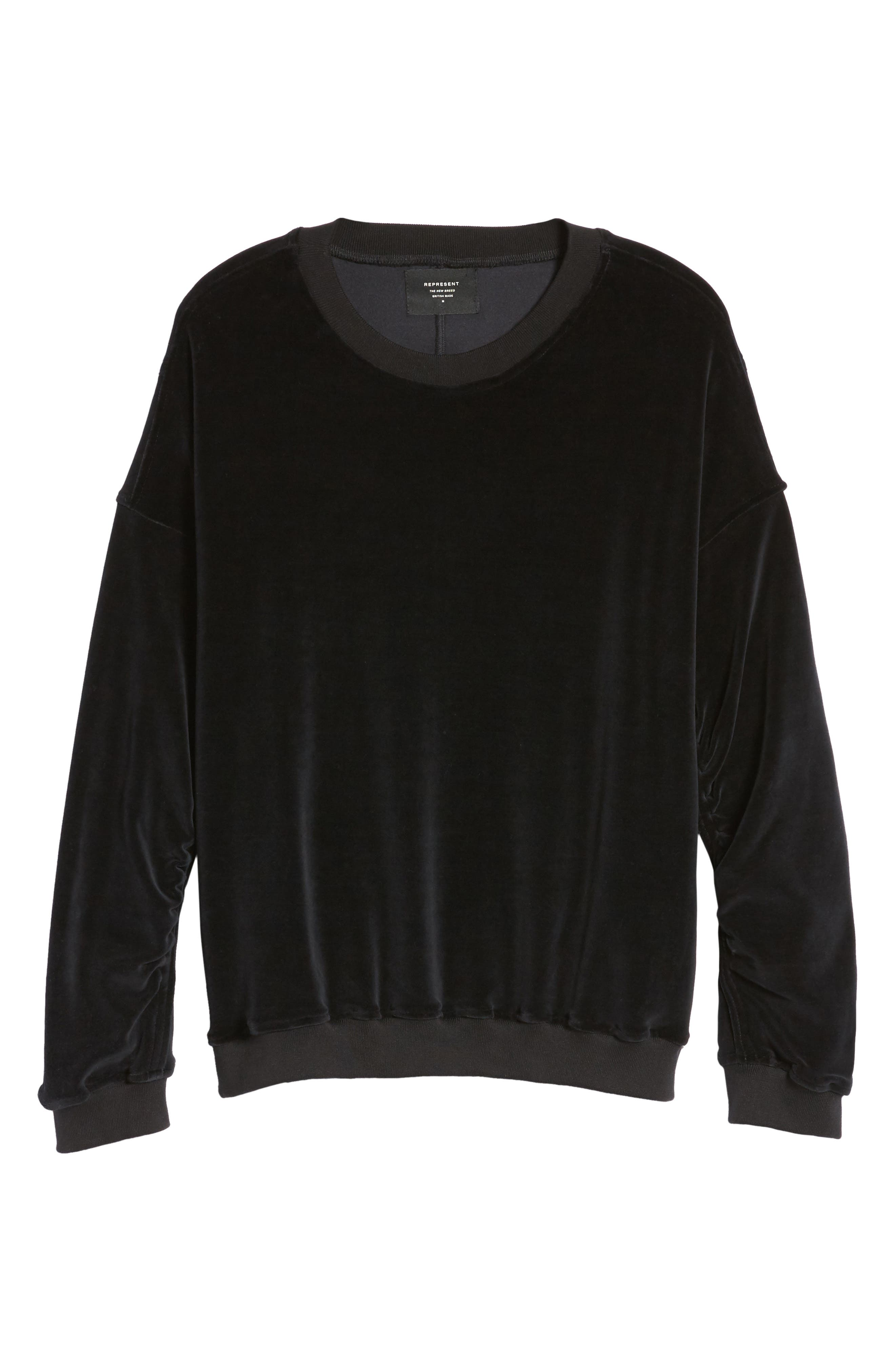 Relaxed Fit Velour Sweater,                             Alternate thumbnail 6, color,                             001