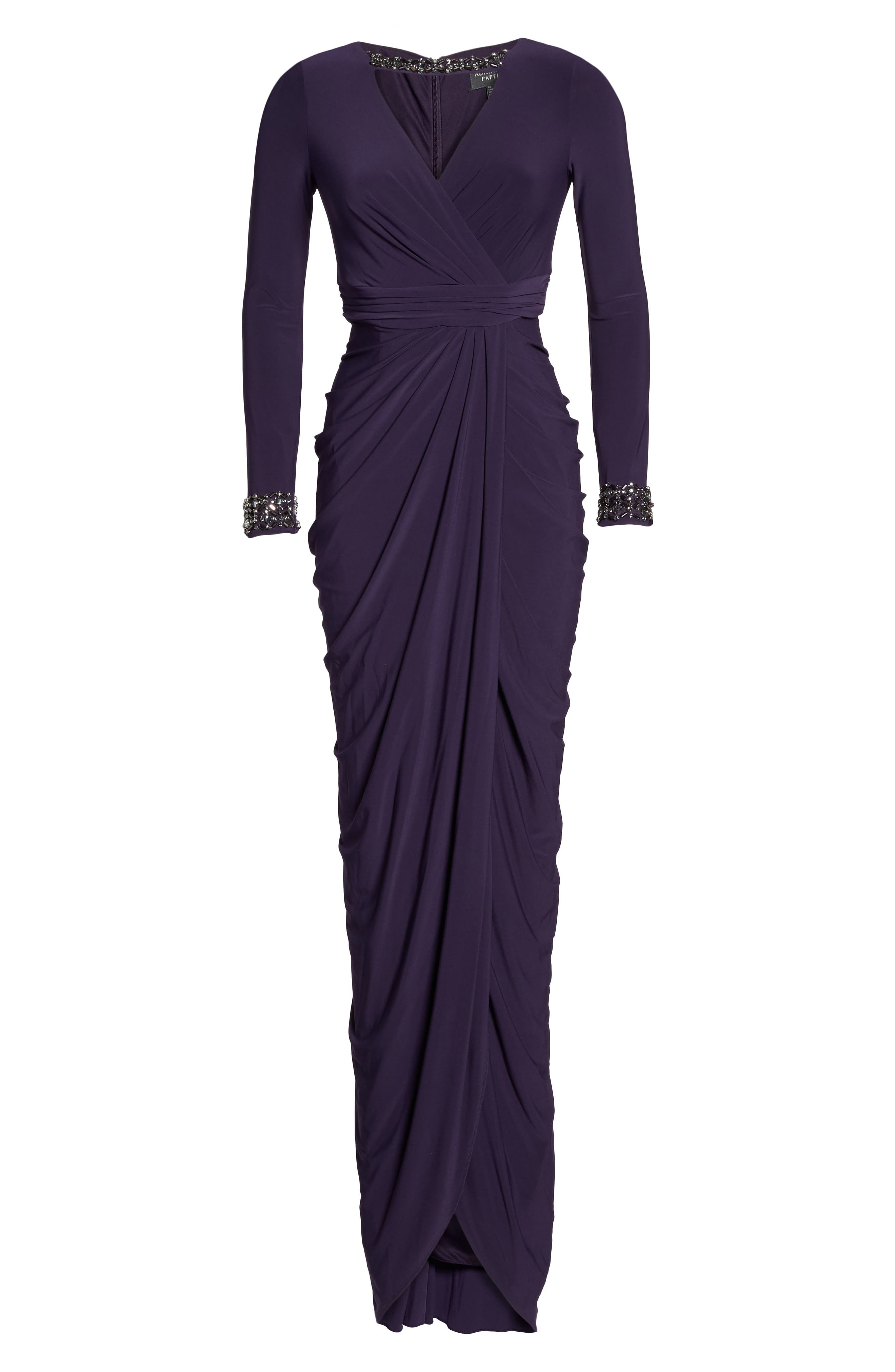 Beaded Jersey Gown,                             Alternate thumbnail 12, color,