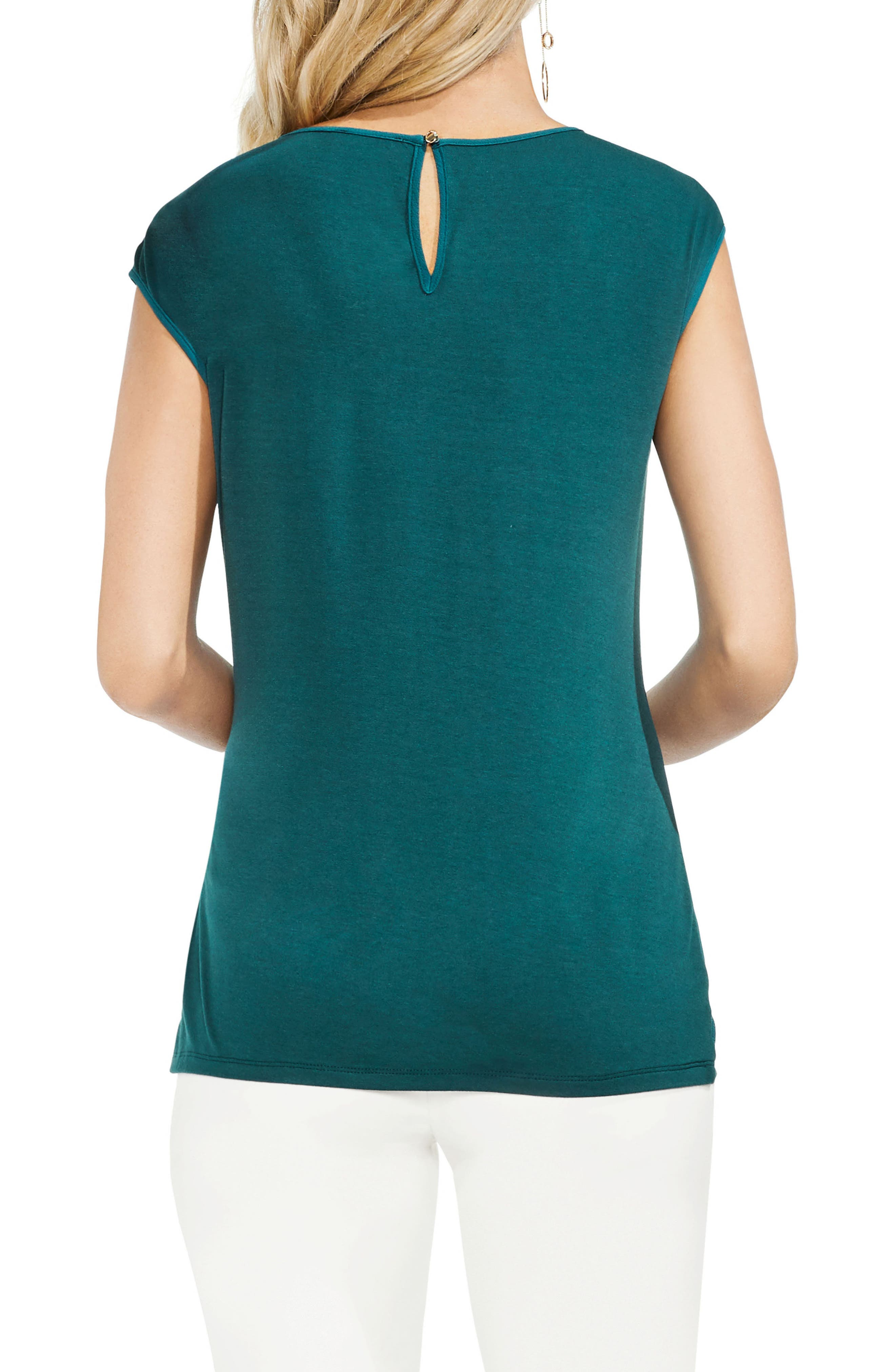 Side Tie Ruched Stretch Crepe Top,                             Alternate thumbnail 2, color,                             VERDANT GREEN