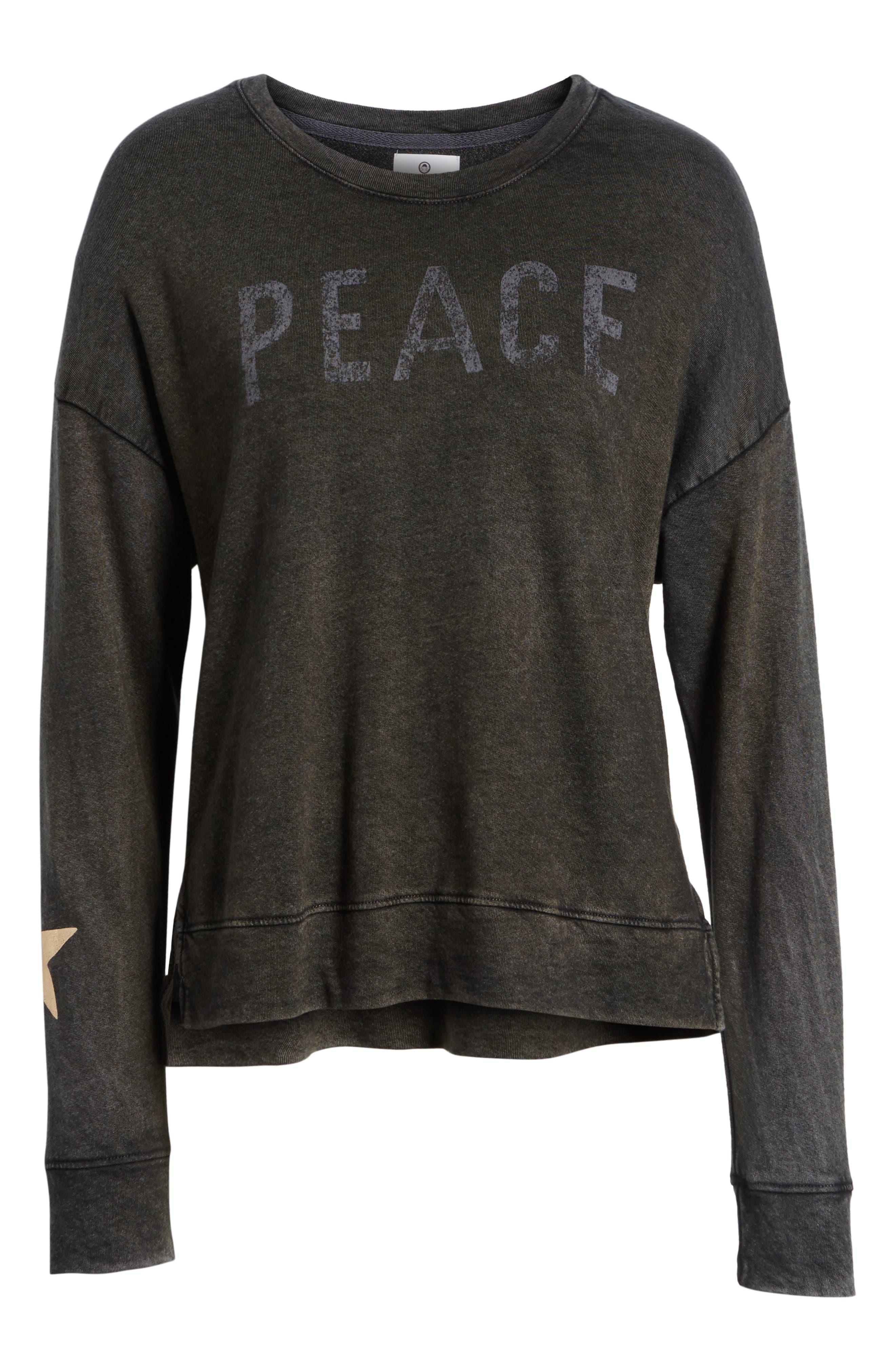 Peace Terry Sweatshirt,                             Alternate thumbnail 6, color,                             VINTAGE BLACK
